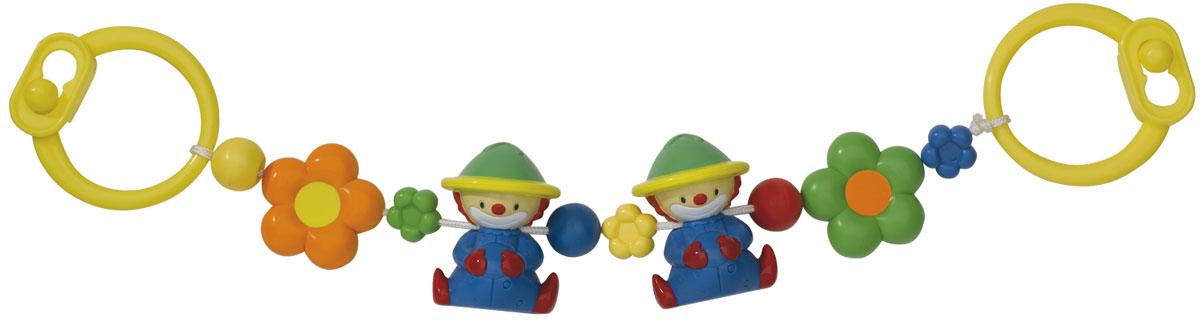 Simba Подвеска на коляску Клоуны4016664Погремушка-подвеска на коляску Клоуны не оставит вашего малыша равнодушным и не позволит ему скучать! Подвеска выполнена в виде пластиковых фигурок-клоунов и ярких цветочков, нанизанных на прочный шнурок. Фигурки дополнены гремящими элементами. На концах шнурка имеются пластиковые клипсы-держатели, при помощи которых игрушку удобно крепить не только на коляску, но и на кроватку, автомобильное кресло и к любым поверхностям. Ваш ребенок с удовольствием будет изучать яркие элементы подвески. Погремушка-подвеска поможет вашему малышу познакомиться с основными цветами и развить звуковосприятие и мелкую моторику рук.