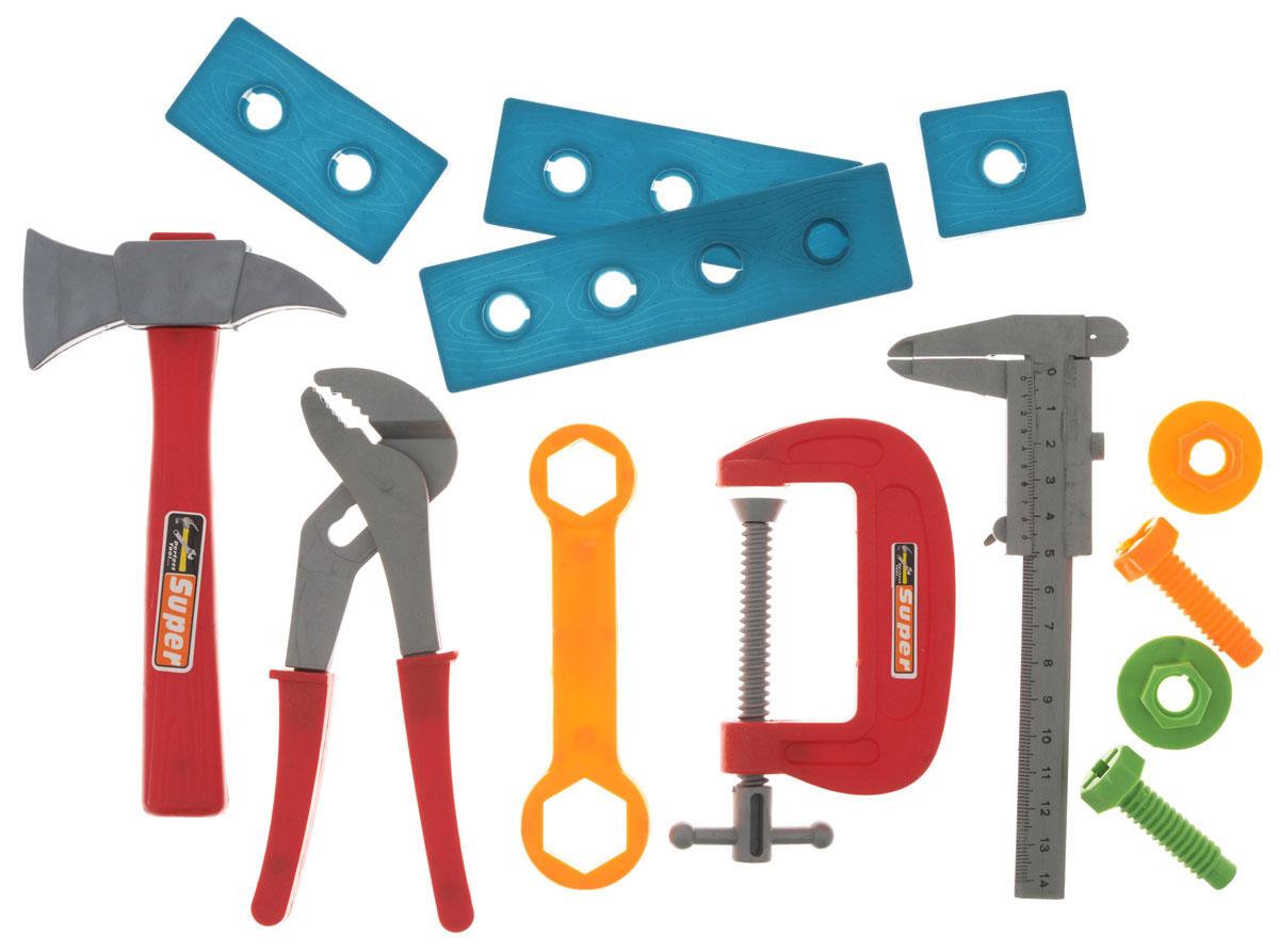 1TOY Набор инструментов Ну погоди цвет красный синийТ58341Набор инструментов Ну, погоди! познакомит ребенка с различными видами инструментов, а также их особенностями и способом применения. В набор включены обязательные для любого столяра элементы, являющихся пластиковыми безопасными копиями реальных инструментов и предметов. В комплект набора входят гаечный ключ, топорик, тиски, пассатижи, планка, 2 винта и 2 гайки, 4 пластиковые доски. Набор инструментов отлично подойдет для ролевых игр ребенка, как в помещении, так и на свежем воздухе. Такой набор понравится любому мальчишке, который хочет быть похожим на папу и теперь у него есть такая возможность. Инструменты выглядят как настоящие, а значит, он сможет повторять всё то, что делает отец.