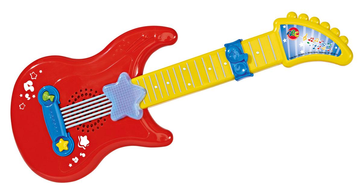 Simba Музыкальная игрушка Гитара цвет красный желтый4010529Музыкальная игрушка Гитара со звуковыми и световыми эффектами обязательно понравится юному музыканту. Есть кнопка включения-выключения и кнопка воспроизведения мелодий. Нажатие этой кнопки позволяет услышать три разных звука и увидеть яркое свечение звезды на гитаре. Бегунок на грифе гитары можно передвигать. Игрушку, выполненную из высококачественного пластика, удобно держать в маленьких детских ручках. Игрушка способствует развитию мелкой моторики, слухового и зрительного восприятия. Рекомендуемый возраст: от 12 месяцев. Питание: 2 батарейки типа АА (комплектуется демонстрационными).