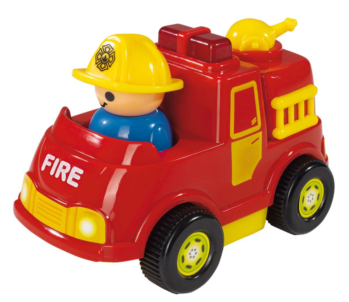 Simba Пожарная машина4019623_красныйМини-машинка Simba обязательно придется по душе вашему малышу. Игрушка представлена в виде яркой пожарной машинки с человечком в желтой каске. Машинка не имеет острых углов и мелких деталей и идеально подходит для детей от 12 месяцев. При нажатии на мигалку машины, срабатывают звуковые и световые эффекты, а при движении машинки, фигурка человечка начинает покачиваться из стороны в сторону. Такая игрушка способствует развитию у малыша тактильных ощущений, мелкой моторики рук и координации движений. Рекомендуется докупить 2 батарейки напряжением 1,5V типа АА (товар комплектуется демонстрационными).