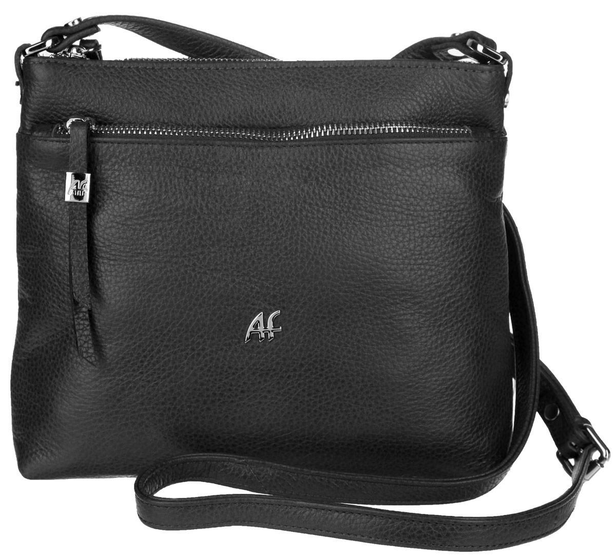 Сумка женская Afina, цвет: черный. 229229 ЧерныйИзысканная женская сумка Afina выполнена из натуральной качественной кожи с фактурным тиснением. Сумка имеет одно отделение, которое закрывается на застежку-молнию. Внутри находится прорезной кармашек на застежке-молнии и два накладных открытых кармашка. Снаружи, на передней стенке расположен накладной карман на застежке-молнии. На задней стенке предусмотрен дополнительный прорезной карман на застежке-молнии. Сумка оснащена плечевым ремнем, который регулируется по длине. В комплект входит фирменный пакет. Роскошная сумка внесет элегантные нотки в ваш образ и подчеркнет ваше отменное чувство стиля.