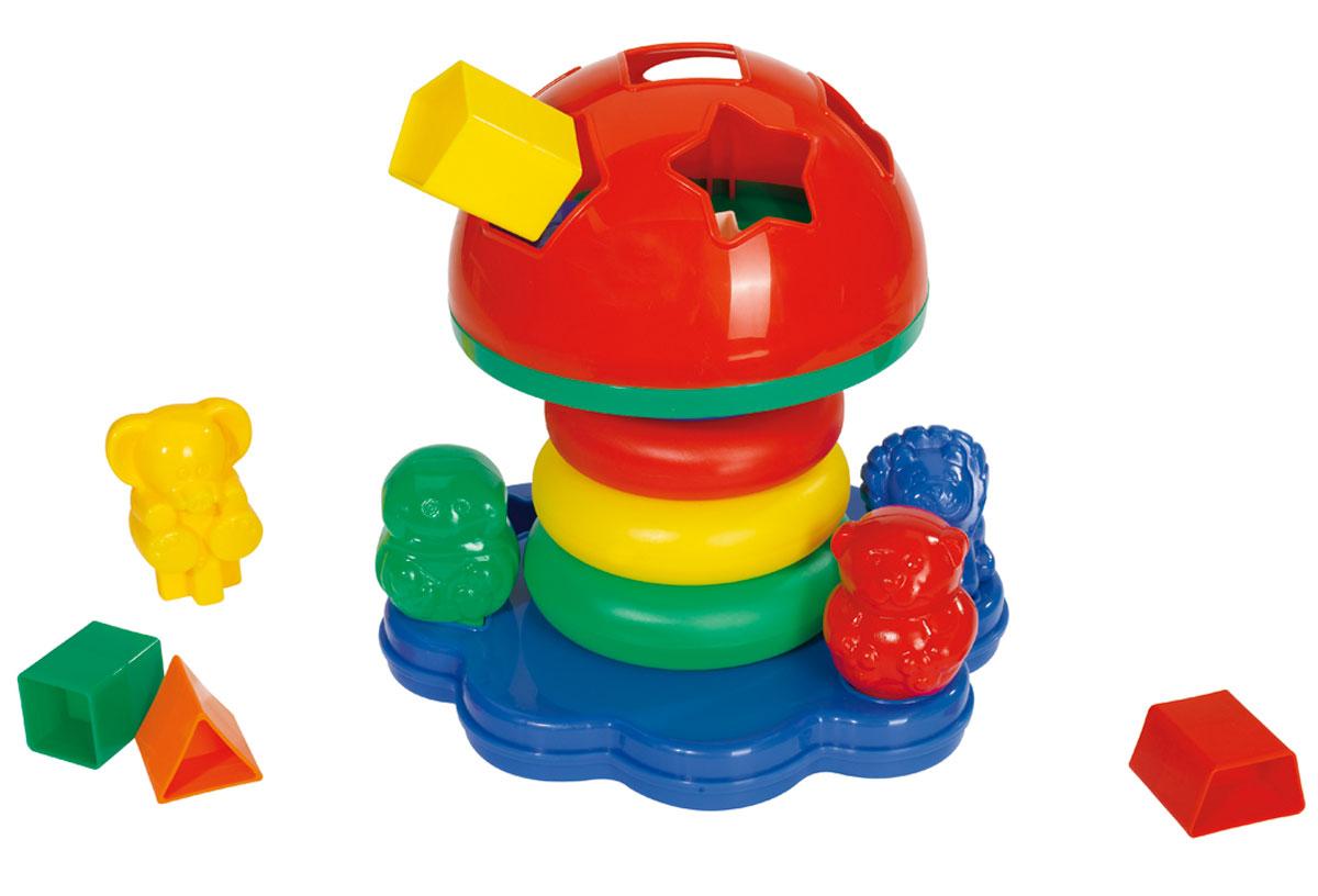 Simba Пирамидка-сортер Грибок4011983Развивающая игрушка пирамидка-сортер Грибок представляет собой полноценный игровой набор, в который входят пирамидка-неваляшка, сортер с геометрическими фигурами и четыре фигурки животных. Пирамидка состоит из основания, четырех колец и верхушки в виде шляпки гриба. В шляпке гриба находится сортер на 6 геометрических фигур - квадрата, треугольника, трапеции, овала, пятиугольника и звезды. На площадке, где растет гриб, находятся также четыре фигурки животных - медведь, слон, лев, лягушка. Каждое животное имеет оригинальное геометрическое основание, так что установить его можно только на определенное место в основании пирамидки. Каждое кольцо пирамидки разного цвета и размера. Пирамидка-сортер - интересная игрушка для самых маленьких. Малыш может складывать кольца по размеру или цветам. При этом развивается логическое мышление и память. Рекомендуемый возраст: 1-3 года.