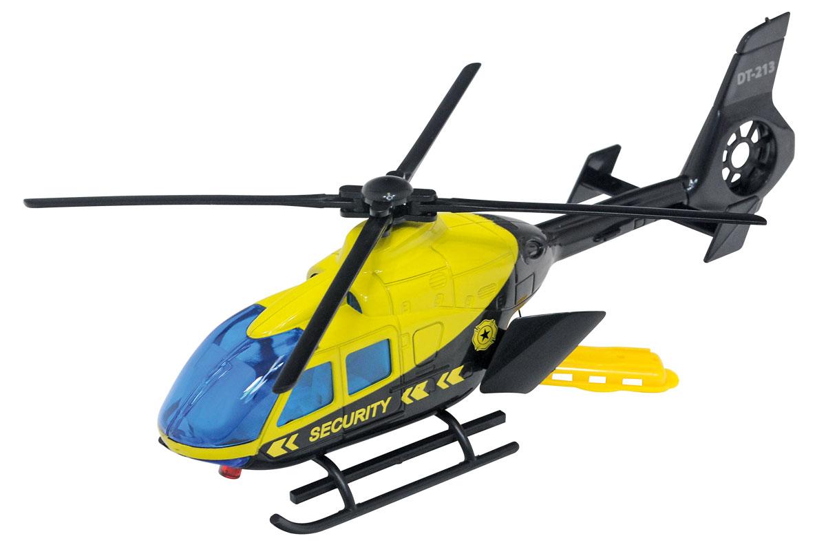 Dickie Toys Вертолет Security3423Игрушка Вертолет Security от компании Dickie Toys непременно заинтересует вашего маленького пилота. Вертолет оснащен специальным инерционным шнурком, который заставляет лопасти вращаться. В задней части игрушки расположены открывающиеся двери, за которыми скрывается выдвижная часть шнурка. Вертолет оснащен полозьями, что позволяет ему прочно стоять на различных поверхностях. Модель изготовлена из высококачественного и прочного пластика ярких цветов. Такая игрушка надолго увлечет вашего ребенка. Порадуйте его таким замечательным подарком!