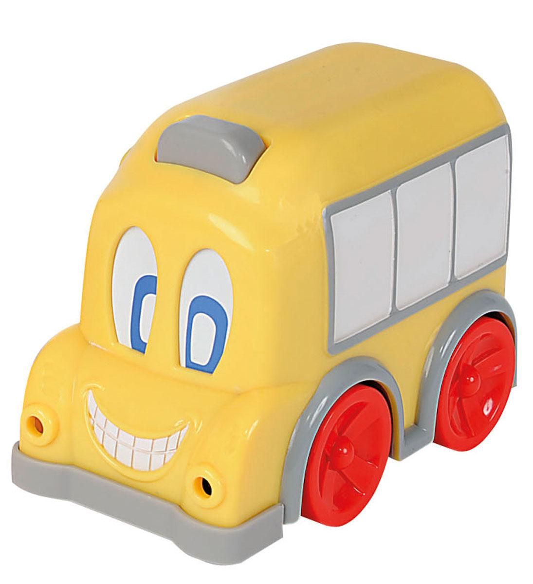 Simba Автобус с движущимися глазами цвет желтый4011646_желтыйАвтобус Simba привлечет внимание вашего ребенка и надолго останется его любимой игрушкой. Плавные формы без острых углов, яркие цвета - все это выгодно выделяет эту игрушку из ряда подобных. Игрушка в виде яркого автобуса с окошками. Когда этот веселый автобус едет, его глаза начинают двигаться. А нажав на кнопку на крыше автобуса малыш услышит веселую мелодию и увидит, как зажгутся фары автобуса. Такая игрушка развивает концентрацию внимания, координацию движений, мелкую моторику рук, цветовое восприятие и воображение. Малыш будет часами играть с этим автобусом, придумывая разные истории. Для работы нужны 3 батарейки 1.5V LR44 (комплектуется демонстрационными).