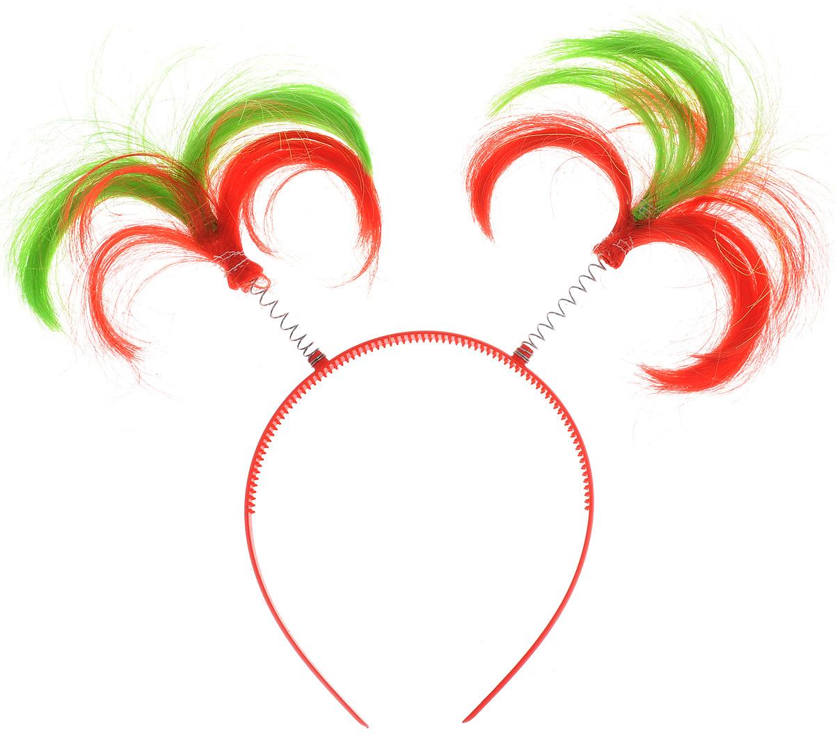 Ободок маскарадный Феникс-Презент Пеппи, цвет: красный, зеленый34605_красный, зеленыйМаскарадный ободок Феникс-Презент Пеппи выполнен из пластика и дополнен хвостиками из полиэстера на металлических пружинах. Ободок имеет универсальный размер. Если у вас намечается веселая вечеринка или маскарад, то такой аксессуар легко поможет создать праздничный наряд. Внесите нотку задора и веселья в ваш праздник. Веселое настроение и масса положительных эмоций вам будут обеспечены! Высота хвостика: 11 см.