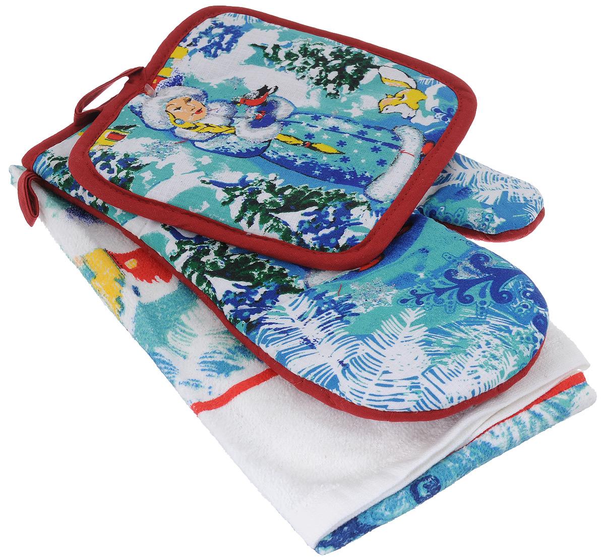 Подарочный набор для кухни Bonita Снегурочка, 3 предмета110120007Подарочный набор для кухни Bonita Снегурочка состоит из прихватки, полотенца и рукавицы. Рукавица и прихватка оснащены петельками для подвешивания. Предметы набора выполнены из хлопка и полиэстера, оформлены ярким изображением Снегурочки и декорированы блестками. Такой набор оригинально украсит интерьер и будет уместен на любой кухне. Прекрасно подойдет в качестве подарка, который окажется не только приятным, но и полезным в хозяйстве. Размер прихватки: 17 см х 17 см. Размер полотенца: 63 см х 38 см. Размер рукавицы: 26 см х 17 см.