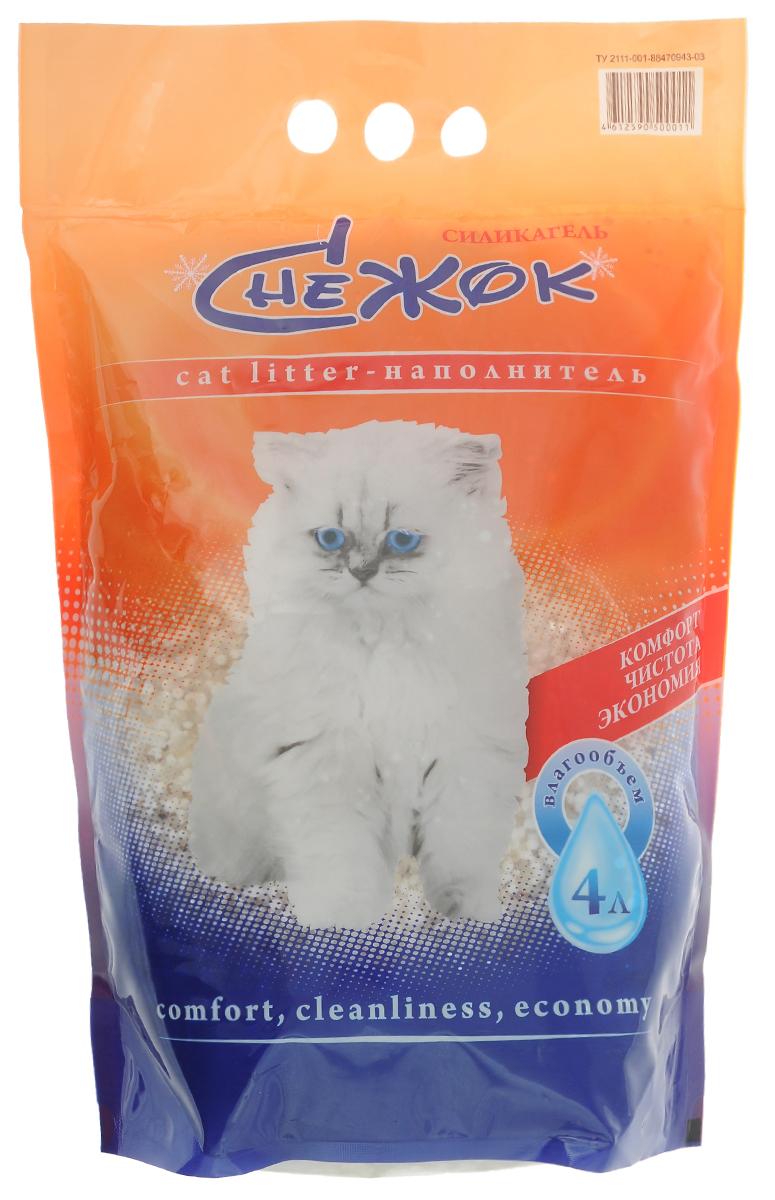 """Наполнитель для кошачьего туалета """"Снежок"""", силикагелевый, 4 л"""