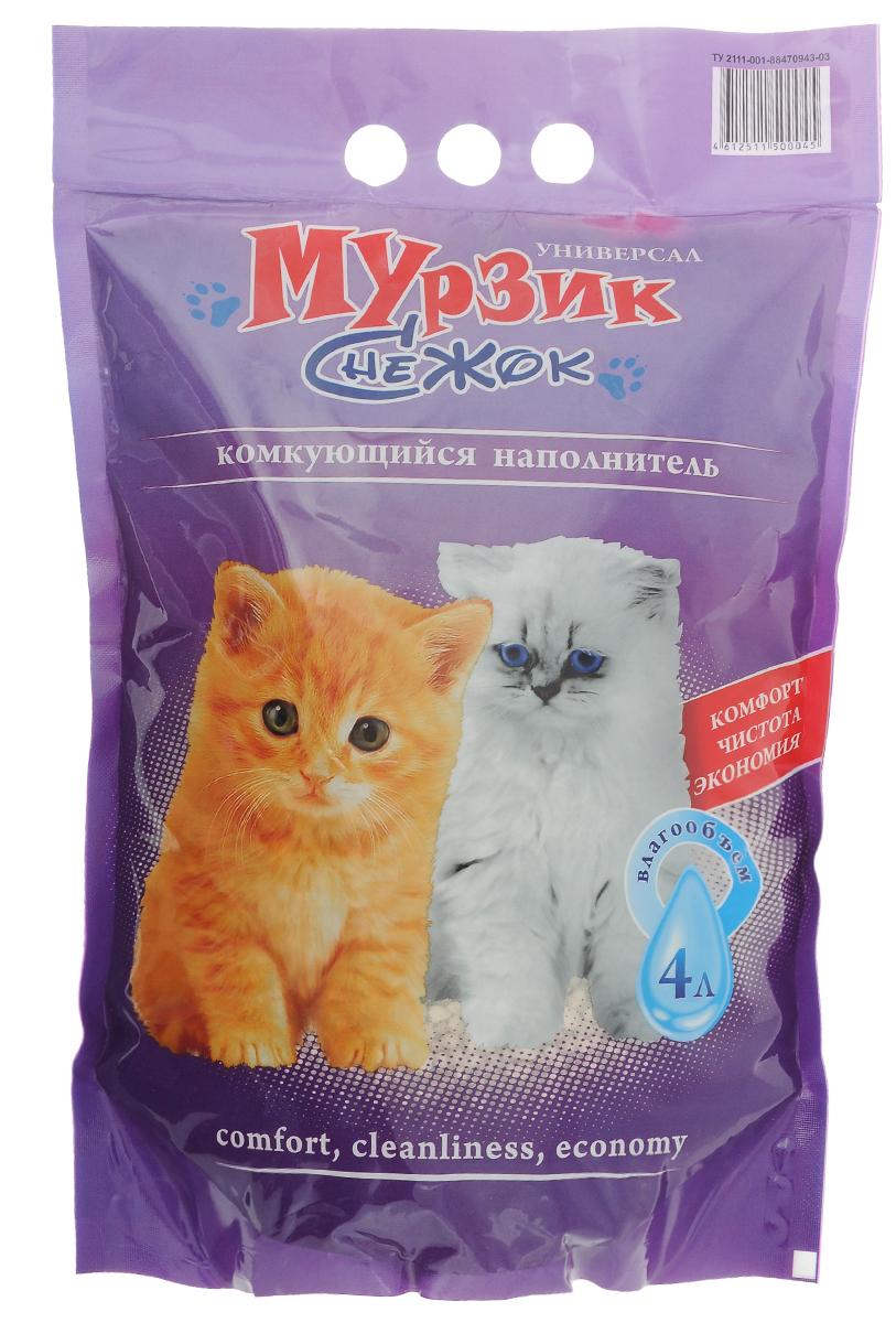 """Наполнитель для кошачьего туалета Мурзик-Снежок """"Универсал"""", комкующийся, 4 л 000000017"""