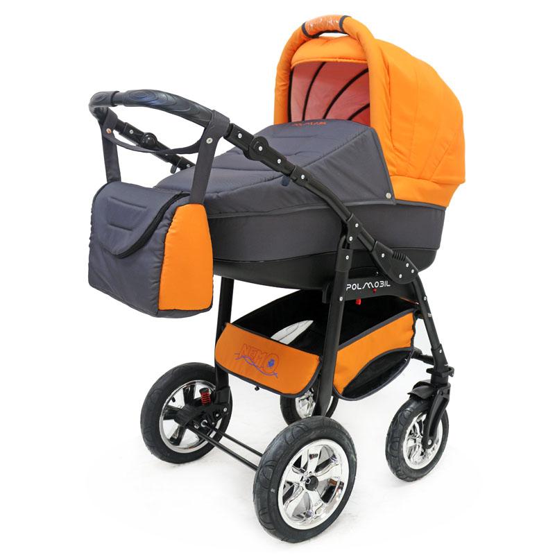 Polmobil Коляска универсальная 2 в 1 Nemo цвет серый оранжевый5902232150070Универсальная детская коляска NEMO 2в1 от Польского производителя Polmobil предназначена для детей с рождения и до 3-х лет. В комплект коляски входит спальная люлька для новорожденного и прогулочный блок для подросшего малыша, которые можно устанавливать по ходу движения или против хода движения. Люлька коляски комфортная и удобная, сделана внутри из 100 % хлопка. Дно люльки – жесткое, это очень важно для правильного формирования позвоночника новорожденного малыша. Прогулочное сидение легко устанавливается на раму, имеет пятиточечные ремни безопасности, съемный бампер, регулируемое положение спинки. Для удобства родителей предусмотрены регулировка высоты ручки, корзина для покупок и сумка для мамы. Колеса надувные, камерные, с современной системой амортизации. Передние поворотные колеса с фиксатором делают эту модель коляски маневренной и легкоуправляемой. Задние колеса, обеспечивают хорошую проходимость и позволяют преодолевать любые препятствия по бездорожью на прогулке. Ширина...