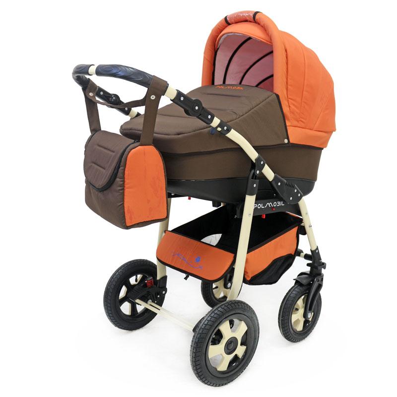 Polmobil Коляска универсальная 2 в 1 Nemo цвет коричневый терракотовый5902232150100Универсальная детская коляска NEMO 2в1 от Польского производителя Polmobil предназначена для детей с рождения и до 3-х лет. В комплект коляски входит спальная люлька для новорожденного и прогулочный блок для подросшего малыша, которые можно устанавливать по ходу движения или против хода движения. Люлька коляски комфортная и удобная, сделана внутри из 100 % хлопка. Дно люльки – жесткое, это очень важно для правильного формирования позвоночника новорожденного малыша. Прогулочное сидение легко устанавливается на раму, имеет пятиточечные ремни безопасности, съемный бампер, регулируемое положение спинки. Для удобства родителей предусмотрены регулировка высоты ручки, корзина для покупок и сумка для мамы. Колеса надувные, камерные, с современной системой амортизации. Передние поворотные колеса с фиксатором делают эту модель коляски маневренной и легкоуправляемой. Задние колеса, обеспечивают хорошую проходимость и позволяют преодолевать любые препятствия по бездорожью на прогулке. Ширина...