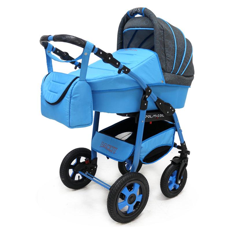 Polmobil Коляска универсальная 2 в 1 Danny цвет графитовый голубой5902232150155Универсальная детская коляска DANNY 2в1 от Польского производителя Polmobil предназначена для детей с рождения и до 3-х лет. В комплект коляски входит спальная люлька для новорожденного и прогулочный блок для подросшего малыша, которые можно устанавливать по ходу движения или против хода движения. Люлька коляски комфортная и удобная, сделана внутри из 100 % хлопка. Дно люльки – жесткое, это очень важно для правильного формирования позвоночника новорожденного малыша. Прогулочное сидение легко устанавливается на раму, имеет пятиточечные ремни безопасности, съемный бампер, регулируемое положение спинки. Для удобства родителей предусмотрены регулировка высоты ручки, корзина для покупок и сумка для мамы. Колеса надувные, камерные, с современной системой амортизации. Передние поворотные колеса с фиксатором делают эту модель коляски маневренной и легкоуправляемой. Задние колеса, обеспечивают хорошую проходимость и позволяют преодолевать любые препятствия по бездорожью на прогулке. Ширина...