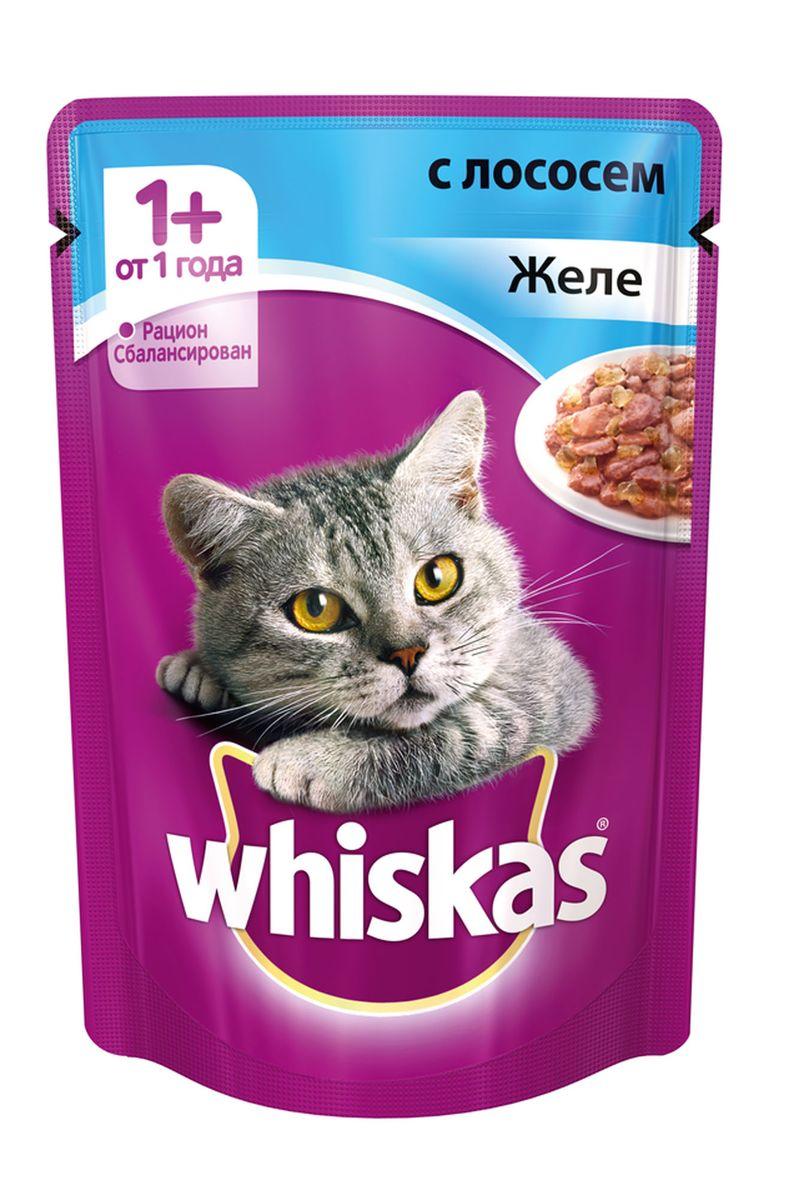 Консервы для кошек от 1 года Whiskas, желе с лососем, 85 г40231Консервы для кошек от 1 года Whiskas - полнорационный сбалансированный корм, который идеально подойдет вашему любимцу. Аппетитное желе приготовлено с учетом потребностей взрослых кошек. Специально сбалансированный рацион содержит все питательные вещества, витамины и минералы, необходимые кошке в этом возрасте. Консервы не содержат сои, консервантов, ароматизаторов, искусственных красителей и усилителей вкуса. В рацион домашнего любимца нужно обязательно включать консервированный корм, ведь его главные достоинства - высокая калорийность и питательная ценность. Консервы лучше усваиваются, чем сухие корма. Также важно, чтобы животные, имеющие в рационе консервированный корм, получали больше влаги. Вес: 85 г. Состав: мясо и субпродукты, рыба (в том числе лосось минимум 4%), таурин, злаки, витамины, минеральные вещества. Пищевая ценность в 100 г: белки - 7,5 г, жиры - 3,5 г, клетчатка - 0,3 г, зола - 2,5 г, витамин А - не менее 150 МЕ,...