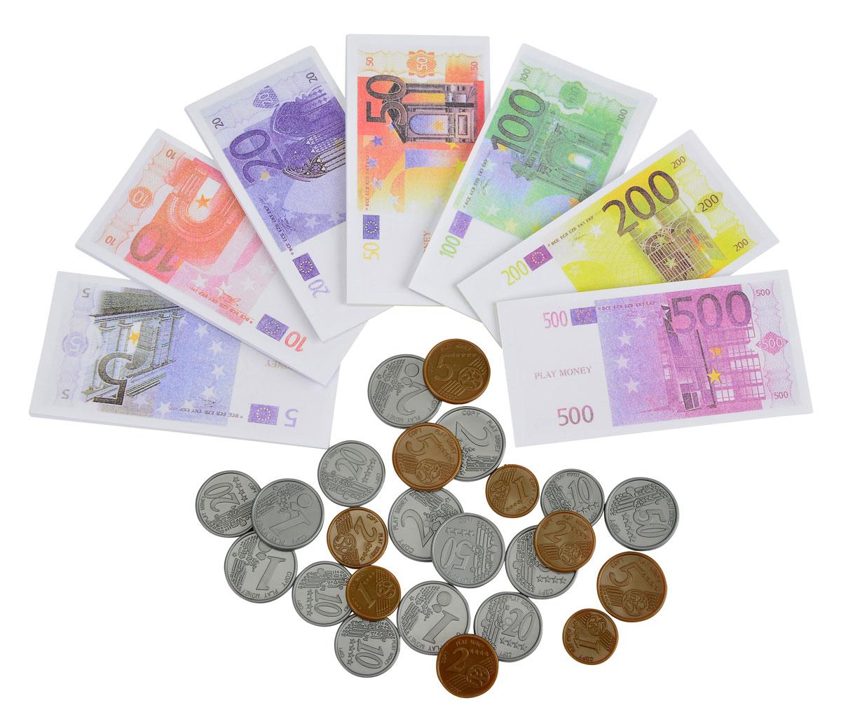 Simba Игровой набор Деньги4528647Игрушечные деньги - неотъемлемая часть детских ролевых игр. Игровой набор Simba Деньги включает в себя 40 монет и 98 купюр евро. Монеты золотистого и серебристого цветов, отличаются номиналом. Купюры также представлены в разных номиналах, от 5 до 500 евро. Порадуйте своего ребенка таким замечательным подарком!