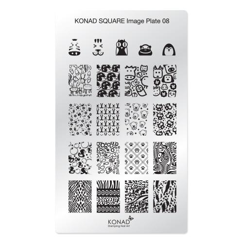 Konad Square Пластина для степинга Square Image Plate08SN-SIP08Плитка для стемпинга. Больше узоров, больше творчества. Нанести лак на диск для стемпинга, убрать излишки скрапером, отпечатать на штамп и перенести на ноготь.