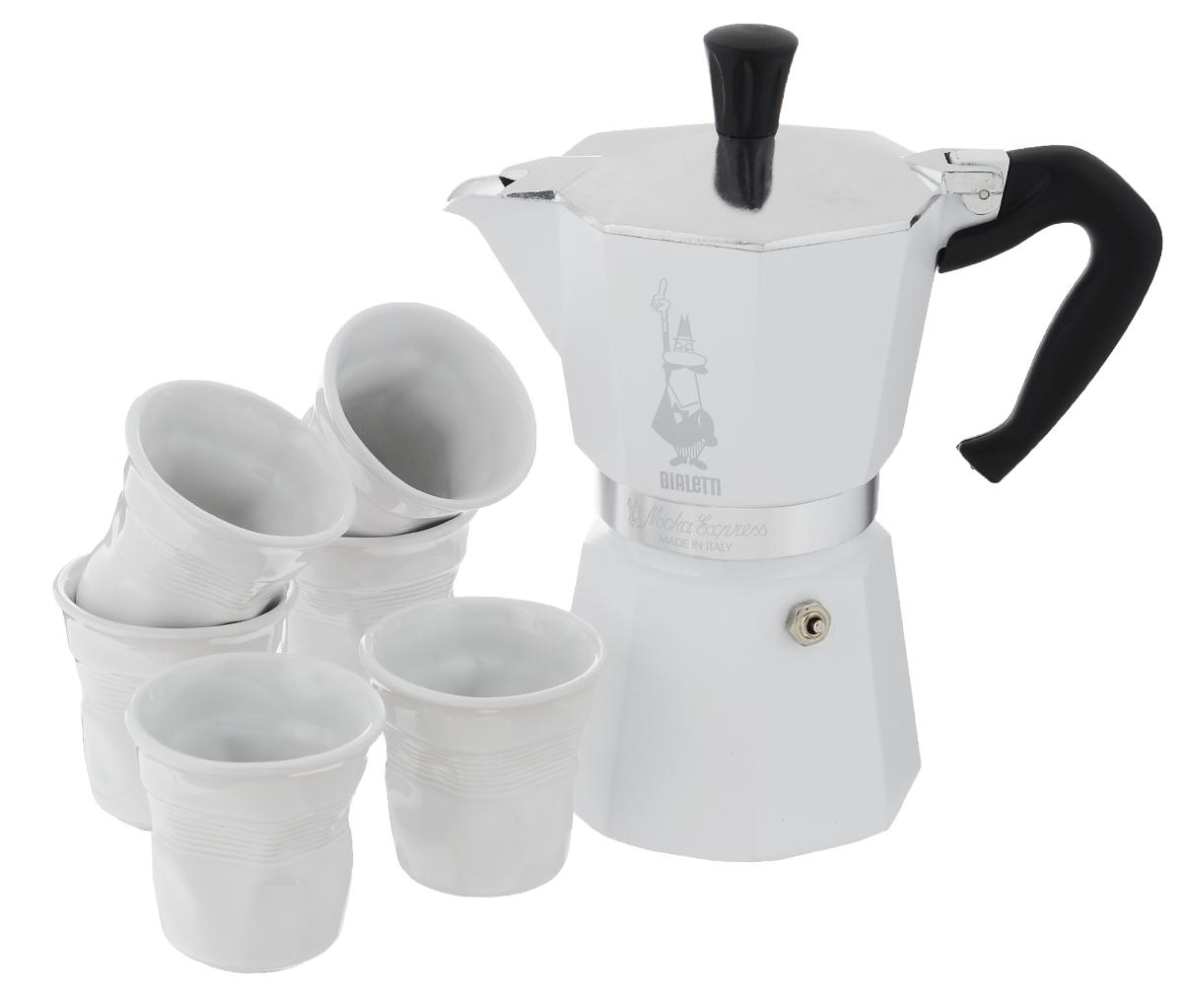 Набор посуды Bialetti Moka, цвет: белый, 7 предметов4030Набор посуды Bialetti Moka включает в себя гейзерную кофеварку и 6 чашек для кофе. Компактная гейзерная кофеварка изготовлена из высококачественного алюминия. Изделие оснащено удобной ручкой из пластика. Кофейные чашки выполнены из высококачественной керамики. Принцип работы такой гейзерной кофеварки - кофе заваривается путем многократного прохождения горячей воды или пара через слой молотого кофе. Удобство кофеварки в том, что вся кофейная гуща остается во внутренней емкости. Гейзерные кофеварки пользуются большой популярностью благодаря изысканному аромату. Кофе получается крепкий и насыщенный. Теперь и дома вы сможете насладиться великолепным эспрессо. Подходит для газовых, электрических и стеклокерамических плит. Нельзя мыть в посудомоечной машине. Высота кофеварки: 22 см. Диаметр дна кофеварки: 10 см. Диаметр чашек по верхнему краю: 6,5 см. Диаметр дна чашек: 3,7 см. Высота чашек: 6,4 см.