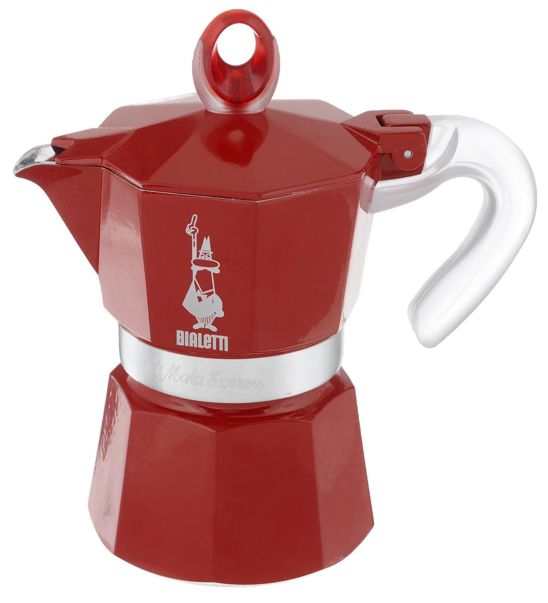 Кофеварка гейзерная Bialetti Moka Glossy, цвет: красный, на 3 чашки4332Компактная гейзерная кофеварка Bialetti Moka Glossy изготовлена из высококачественного алюминия. Объема кофе хватает на 3 чашки. Изделие оснащено удобной ручкой из пластика. Принцип работы такой гейзерной кофеварки - кофе заваривается путем многократного прохождения горячей воды или пара через слой молотого кофе. Удобство кофеварки в том, что вся кофейная гуща остается во внутренней емкости. Гейзерные кофеварки пользуются большой популярностью благодаря изысканному аромату. Кофе получается крепкий и насыщенный. Теперь и дома вы сможете насладиться великолепным эспрессо. Подходит для газовых, электрических и стеклокерамических плит. Нельзя мыть в посудомоечной машине. Высота (с учетом крышки): 17 см.