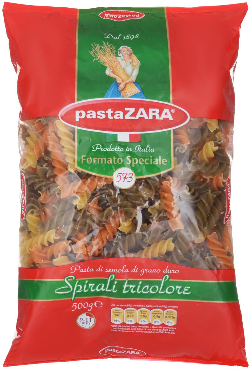 Pasta Zara Спираль трехцветная макароны, 500 г8004350030573Макароны Pasta Zara 573 с томатами и шпинатом сочетают в себе современность технологий производства и традиционное итальянское качество. Макаронные изделия Pasta Zara - одна из самых популярных марок итальянских макаронных изделий в России. Макароны Pasta Zaraвыпускаются в Италии с 1898 года семьёй Браганьоло уже в течение четырёх поколений. Это семейный бизнес, который вкладывает более, чем вековой опыт работы с макаронными изделиями в создание и продвижение своего продукта, тщательно отслеживая сохранение традиций.