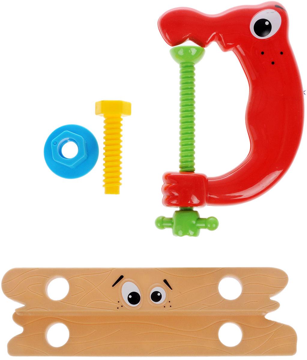 1TOY Игровой набор Профи-малыш цвет коричневый красныйТ55984_красный/струбницаНабор Профи-малыш состоит из зажима, доски с отверстиями, винта и гайки. Яркие игрушки с нарисованными глазками изготовлены из цветного безопасного пластика. С помощью игрового набора с инструментами ребенок сможет обучиться быть более самостоятельным и хозяйственным. Играя в сюжетно-ролевые игры, у него развивается логическое мышление, координация движений и внимательность.