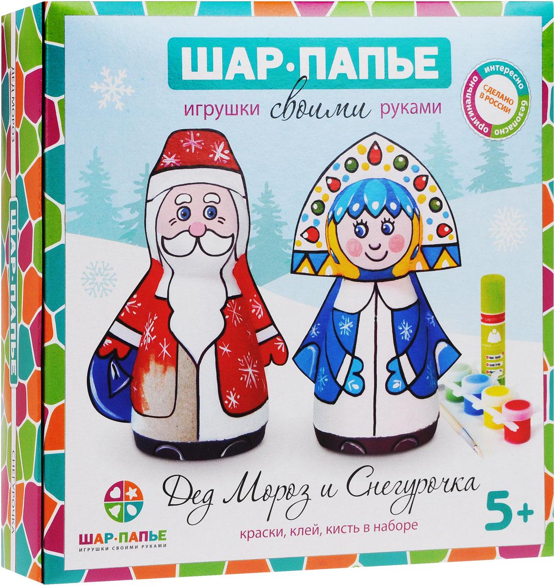 Шар-папье Набор для изготовления игрушек Дед Мороз и СнегурочкаВ0160611Набор для изготовления игрушек Шар-папье Дед Мороз и Снегурочка позволит вам и вашему ребенку своими руками сделать фигурки Деда Мороза и Снегурочки. Фигурки можно раскрасить и декорировать различными материалами по своему усмотрению. Набор включает в себя все необходимые элементы: заготовки из прессованной бумажной массы, вставки из гофрокартона, контур, акриловые краски 6 цветов, кисточку, клей, фурнитуру и подробную иллюстрированную инструкцию на русском языке. Папье-маше - это легко поддающаяся обработке бумажная или картонная масса. Наклеивая полоски папье-маше на заранее подготовленную модель и высушивая изделие, можно получить легкий и удобный для росписи предмет. С давних времен технику папье-маше использовали для изготовления самых разнообразных шкатулок, масок, игрушек, подносов, рам, а также карет и предметов мебели.