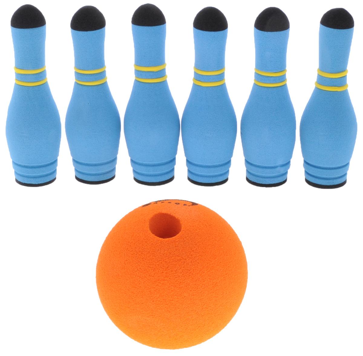 Safsof Игровой набор Мини-боулинг цвет голубой оранжевыйMBB-05(B)_гол/оранжИгровой набор Safsof Мини-боулинг, изготовленный из вспененной резины и полимера, состоит из шести кеглей и шара. Набор выполнен из мягкого материала, что обеспечивает безопасность ребенку. Суть игры в боулинг - сбить шаром максимальное количество кеглей. Число игроков и количество туров - произвольное. Очки, набранные с каждым броском мяча, рассматриваются как количество сбитых кегель. Расстояние, с которого совершается бросок, определяется игроками. Каждый игрок имеет право на два броска в одной рамке (рамка - треугольник, на поле которого выстраиваются кегли перед каждым первым броском очередного игрока). Бросок, при котором все кегли сбиты, называется страйк и обозначается как Х. Если все кегли сбиты первым броском, второй бросок не требуется: рамка считается закрытой. Призовые очки за страйк - это сумма кеглей, сбитых игроком следующими двумя бросками. Выигрывает тот игрок, который в сумме набирает больше очков.