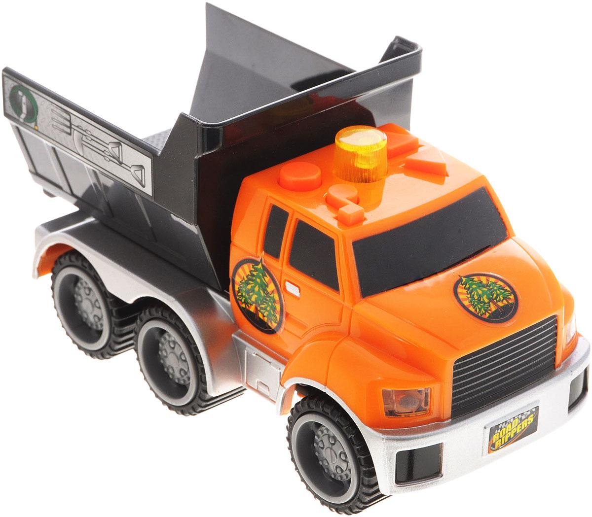 Toystate Самосвал City Service Fleet33220TS_оранжевый, черныйЯркая машинка Toystate City Service Fleet со звуковыми и световыми эффектами, несомненно, понравится вашему ребенку и не позволит ему скучать. Игрушка выполнена в виде мощного самосвала. При нажатии на кнопки, расположенные на крыше, светятся бортовые огни автомобиля, воспроизводятся звуки двигателя, играет заводная музыка, машинка едет вперед или назад. Машинка оснащена инерционным механизмом. Ваш ребенок часами будет играть с машинкой, придумывая различные истории и устраивая соревнования. Порадуйте его таким замечательным подарком! Для работы игрушки необходимы 2 батарейки типа АAА (товар комплектуется демонстрационными).
