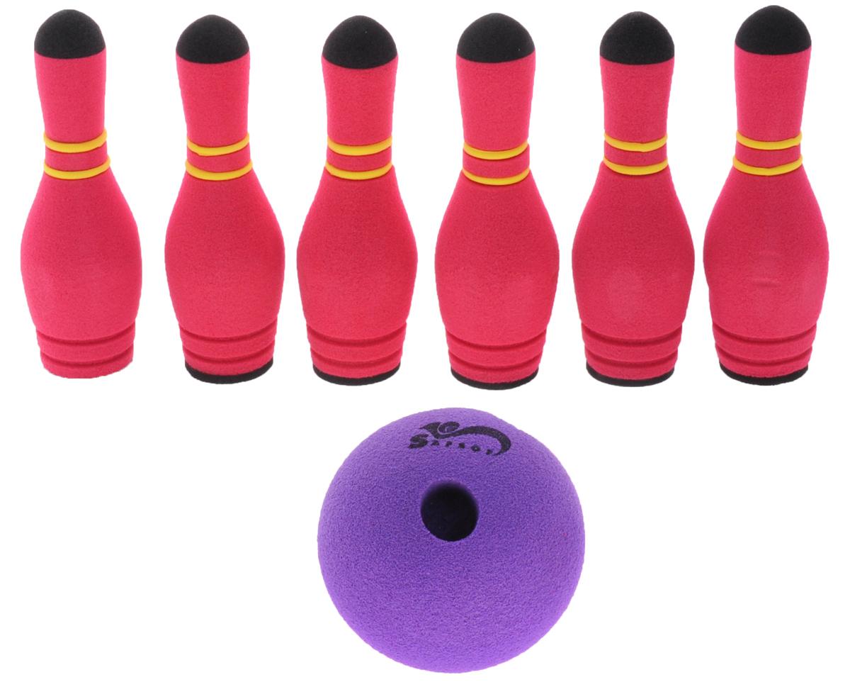 Safsof Игровой набор Мини-боулинг цвет малиновый фиолетовыйMBB-05(B)_малин/фиолИгровой набор Safsof Мини-боулинг, изготовленный из вспененной резины и полимера, состоит из шести кеглей и шара. Набор выполнен из мягкого материала, что обеспечивает безопасность ребенку. Суть игры в боулинг - сбить шаром максимальное количество кеглей. Число игроков и количество туров - произвольное. Очки, набранные с каждым броском мяча, рассматриваются как количество сбитых кегель. Расстояние, с которого совершается бросок, определяется игроками. Каждый игрок имеет право на два броска в одной рамке (рамка - треугольник, на поле которого выстраиваются кегли перед каждым первым броском очередного игрока). Бросок, при котором все кегли сбиты, называется страйк и обозначается как Х. Если все кегли сбиты первым броском, второй бросок не требуется: рамка считается закрытой. Призовые очки за страйк - это сумма кеглей, сбитых игроком следующими двумя бросками. Выигрывает тот игрок, который в сумме набирает больше очков.
