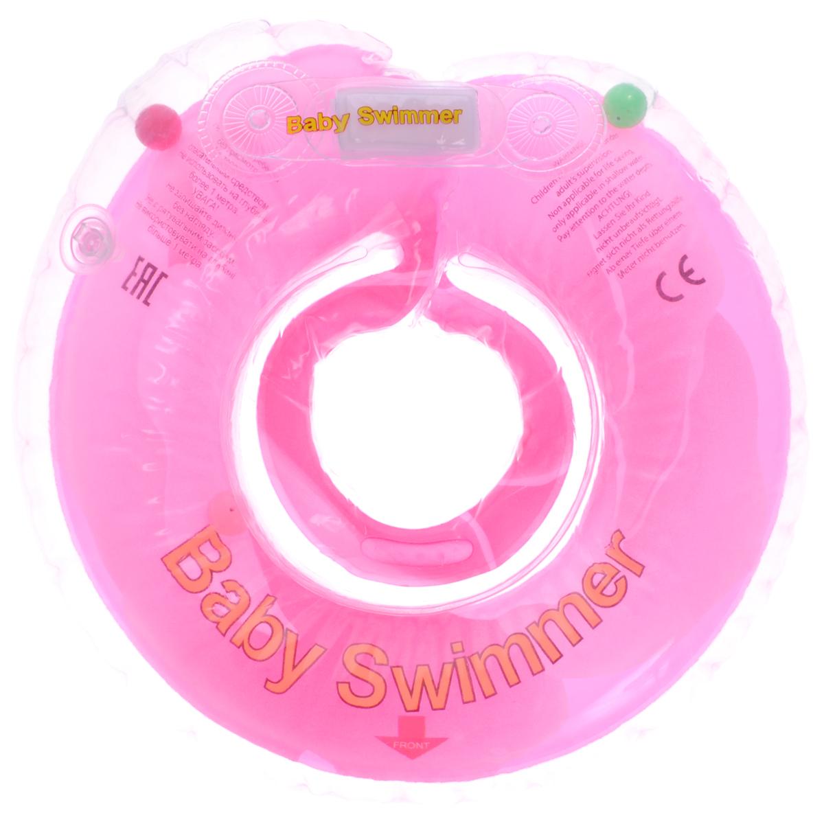 Baby Swimmer Круг на шею Розовый бутон с погремушкой 6-36 кгBS12А-B_розовый бутонКруг на шею Baby Swimmer с погремушкой внутри предназначен для купания малышей с рождения в домашних условиях или на открытом воздухе на глубине не более 1 метра. Одетый на шею ребенка круг не доставляет малышу никакого дискомфорта, ввиду применения технологии внутреннего шва, который делает края мягкими на ощупь. На внутренней стороне круга имеется вставка для подбородка ребенка, которая надежно фиксирует его положение и препятствует соскальзыванию. Двусторонняя липкая застежка сверху и снизу круга обеспечивает повышенную безопасность и позволяет регулировать внутренний размер круга, что делает возможность получить комфортное прилегание к шее ребенка. А благодаря двум раздельным контурам, надувающимся отдельно, создается дополнительная безопасность во время купания ребенка. Круг Baby Swimmer является отличным помощником для родителей и большой радостью для детей, так как дает им возможность полной свободы действия в воде! Круг на шею изготовлен из...