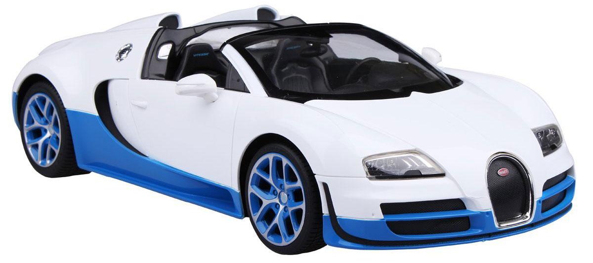 Rastar Радиоуправляемая модель Bugatti Veyron 16.4 Grand Sport Vitesse цвет белый голубой70420_белыйРадиоуправляемая модель Rastar Bugatti Veyron 16.4 Grand Sport Vitesse станет отличным подарком любому мальчику! Все дети хотят иметь в наборе своих игрушек ослепительные, невероятные и крутые автомобили на радиоуправлении. Тем более, если это автомобиль известной марки с проработкой всех деталей, удивляющий приятным качеством и видом. Одной из таких моделей является автомобиль на радиоуправлении Rastar Bugatti Veyron 16.4 Grand Sport Vitesse. Это точная копия настоящего авто в масштабе 1:14. Авто обладает неповторимым провокационным стилем и спортивным характером. Потрясающая маневренность, динамика и покладистость - отличительные качества этой модели. Возможные движения: вперед, назад, вправо, влево, остановка. Имеются световые эффекты. Пульт управления работает на частоте 2.4 GHz. Для работы игрушки необходимы 5 батареек типа АА (не входят в комплект). Для работы пульта управления необходима 1 батарейка 9V (6F22) (не входит в комплект).