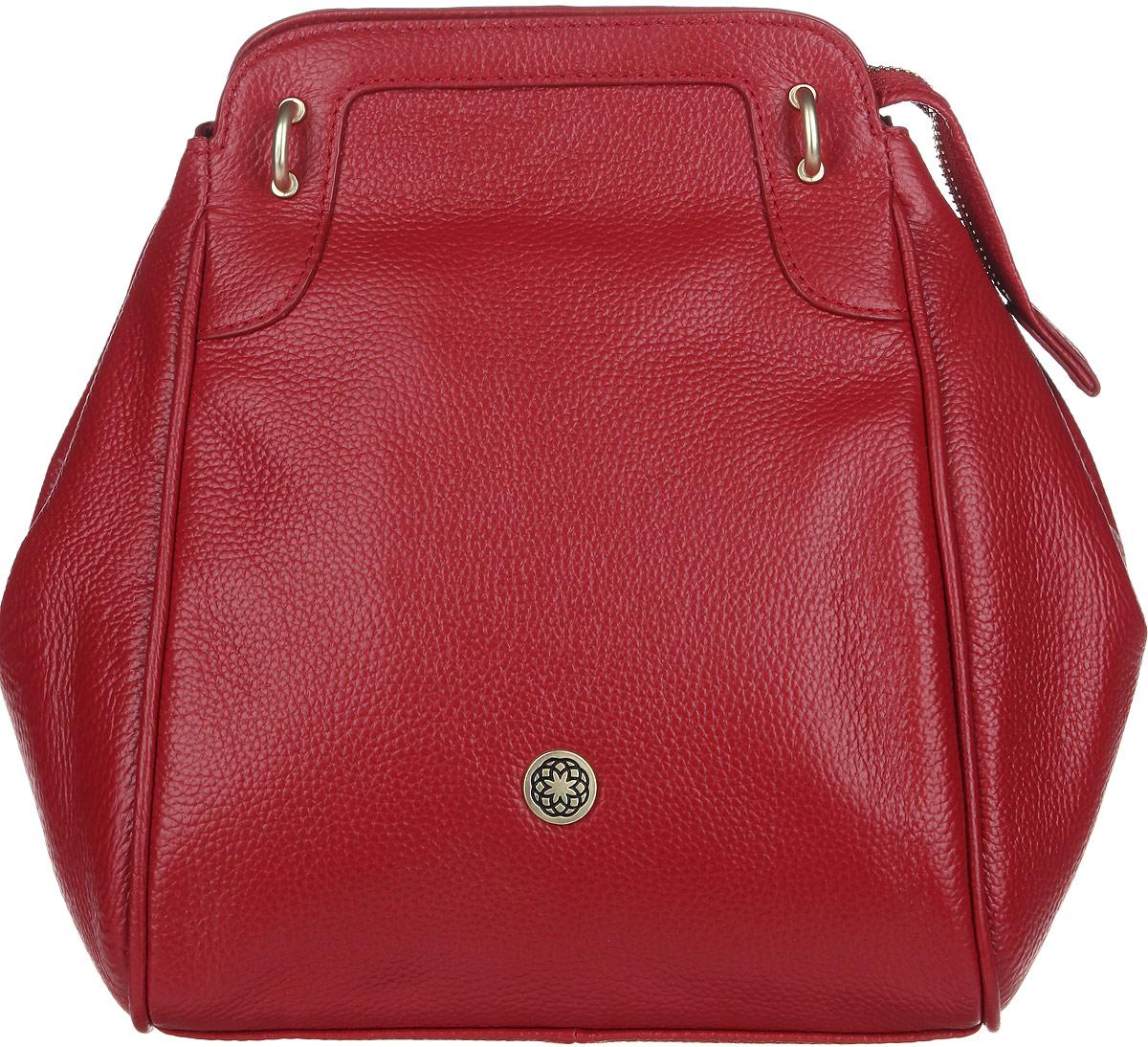 Сумка женская Fiorita, цвет: красный. 0665F0665F redСтильная женская сумка Fiorita выполнена из натуральной кожи с фактурным тиснением. Изделие имеет одно основное отделение, которое закрывается на застежку-молнию. Дополнительно по бокам сумка застегивается на кнопки. Внутри находятся два прорезных кармашка на застежках-молниях и два накладных открытых кармашка. Снаружи, на задней стенке расположен прорезной карман на застежке-молнии. Изделие оснащено двумя съемными плечевыми ремнями, которые позволяют носить сумку на плече и трансформируют ее в рюкзак. Изделие упаковано в фирменный чехол. Такая сумка дополнит ваш образ и сделает его завершенным.