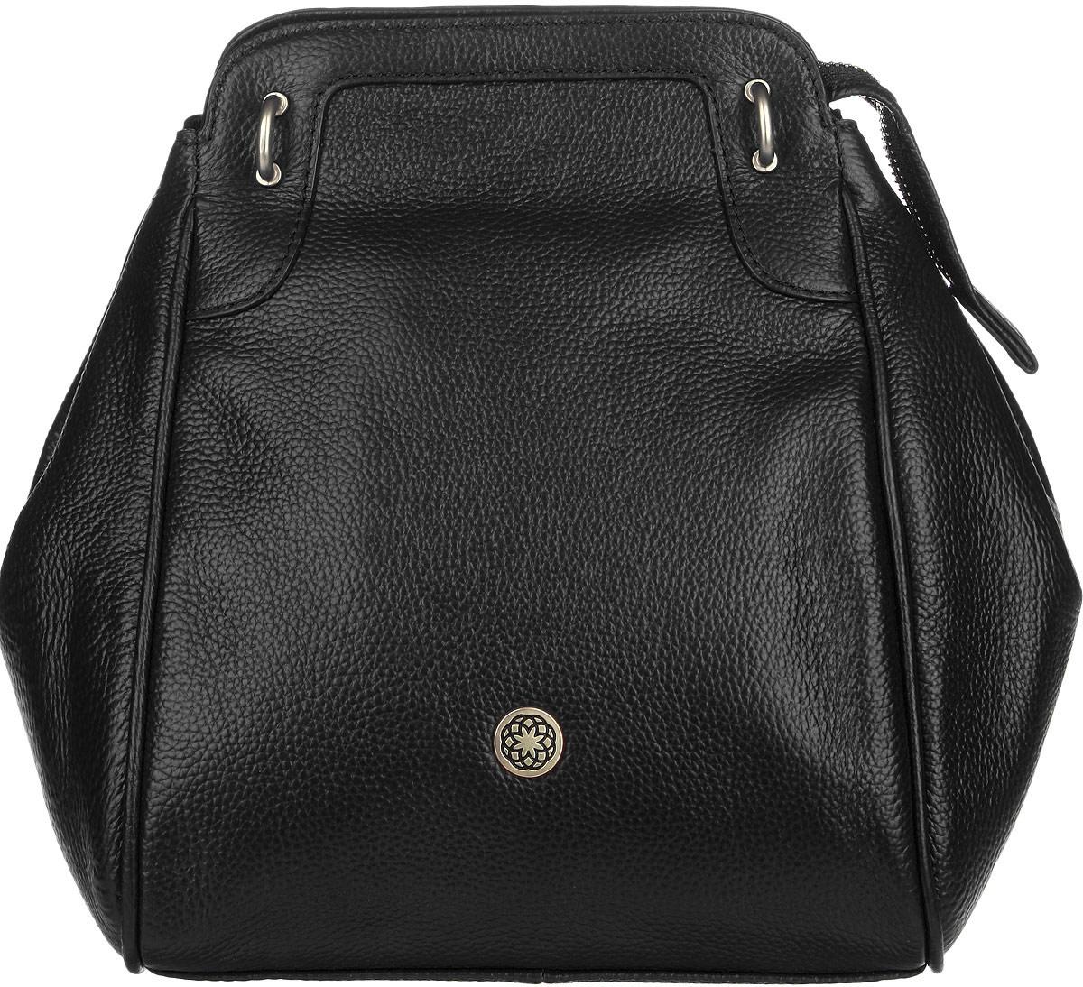 Сумка женская Fiorita, цвет: черный. 0665F0665F blackСтильная женская сумка Fiorita выполнена из натуральной кожи с фактурным тиснением. Изделие имеет одно основное отделение, которое закрывается на застежку-молнию. Дополнительно по бокам сумка застегивается на кнопки. Внутри находятся два прорезных кармашка на застежках-молниях и два накладных открытых кармашка. Снаружи, на задней стенке расположен прорезной карман на застежке-молнии. Изделие оснащено двумя съемными плечевыми ремнями, которые позволяют носить сумку на плече и трансформируют ее в рюкзак. Изделие упаковано в фирменный чехол. Такая сумка дополнит ваш образ и сделает его завершенным.