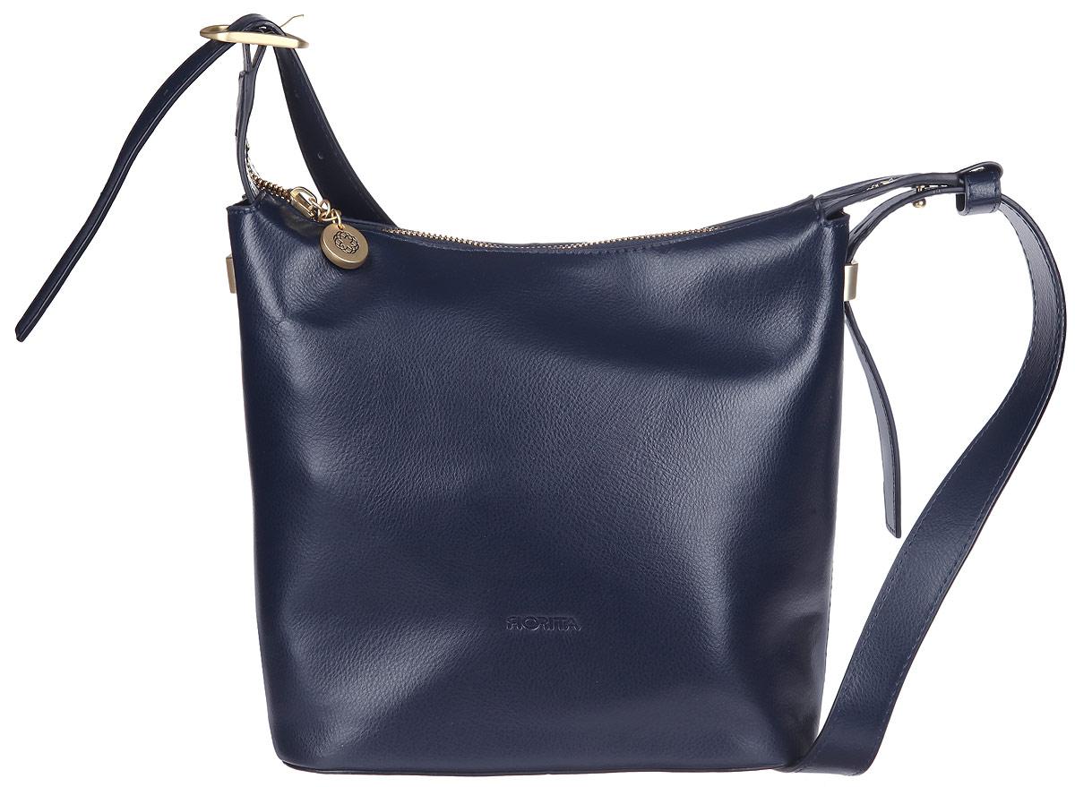 Сумка женская Fiorita, цвет: темно-синий. 0956F0956F blueСтильная женская сумка Fiorita выполнена из натуральной кожи. Изделие имеет одно основное отделение, разделенное пополам карманом-средником на застежке-молнии. Закрывается сумка на застежку-молнию. Внутри находятся два прорезных кармана на застежках-молниях и два накладных открытых кармашка. Снаружи на задней стенке расположен прорезной карман на застежке-молнии. Изделие оснащено удобной ручкой, которая регулируется по длине. Основание изделия защищено от повреждений металлическими ножками. Сумка упакована в фирменный чехол. Такая сумка дополнит ваш образ и подчеркнет ваше отменное чувство стиля.