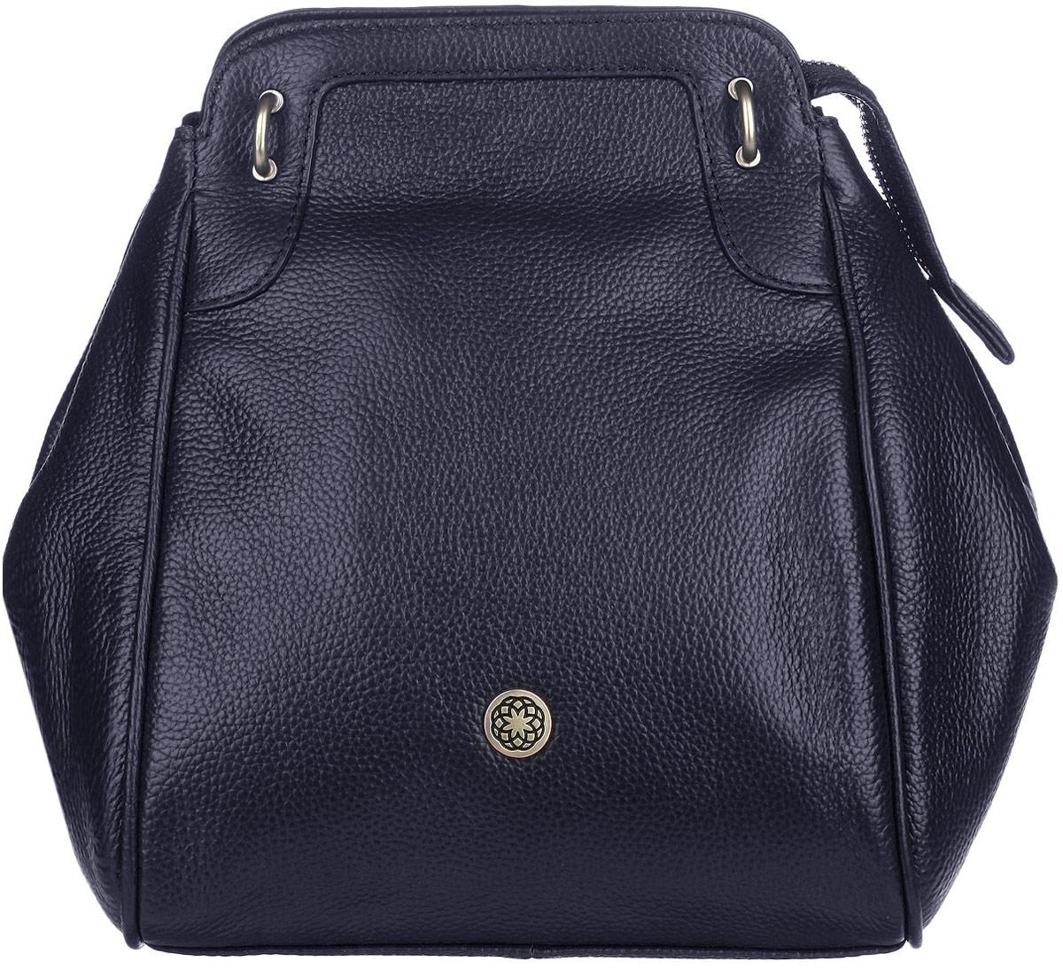 Сумка женская Fiorita, цвет: темно-синий. 0665F0665F d.blueСтильная женская сумка Fiorita выполнена из натуральной кожи с фактурным тиснением. Изделие имеет одно основное отделение, которое закрывается на застежку-молнию. Дополнительно по бокам сумка застегивается на кнопки. Внутри находятся два прорезных кармашка на застежках-молниях и два накладных открытых кармашка. Снаружи, на задней стенке расположен прорезной открытый карман на застежке-молнии. Изделие оснащено двумя съемными плечевыми ремнями, которые позволяют носить сумку на плече и трансформируют ее в рюкзак. Изделие упаковано в фирменный чехол. Такая сумка дополнит ваш образ и сделает его завершенным.