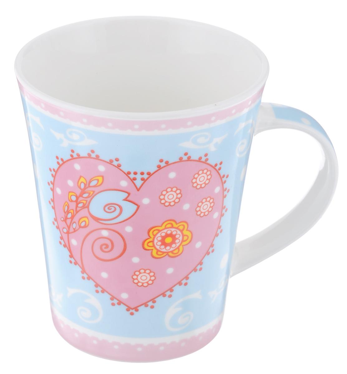 Кружка Loraine Сердце, 400 мл22118_голубой, розовыйОригинальная кружка Loraine Сердце выполнена из фарфора и оформлена красочным рисунком. Она станет отличным дополнением к сервировке семейного стола и замечательным подарком для ваших родных и друзей.