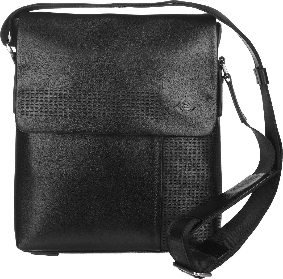 Сумка мужская Edmins, цвет: черный. 1322А-2 BL1322А-2 BL blackМужская сумка Edmins выполнена из натуральной кожи и оформлена декоративной перфорацией. Сумка имеет одно отделение на застежке-молнии, внутри которого расположены - прорезной карман на застежке-молнии, накладной открытый карман для мелочей, два держателя для авторучек, накладной карман для мобильного телефона и открытый накладной карман для планшета. Закрывается изделие на клапан с магнитами. Снаружи, на передней стенке под клапаном расположен открытый накладной карман, на задней стенке - прорезной карман на застежке-молнии. Сумка оснащена текстильным плечевым ремнем, который регулируется по длине. Изделие упаковано в фирменный чехол. Сдержанность и продуманный дизайн изделия не оставят равнодушным ни одного представителя сильной половины человечества.