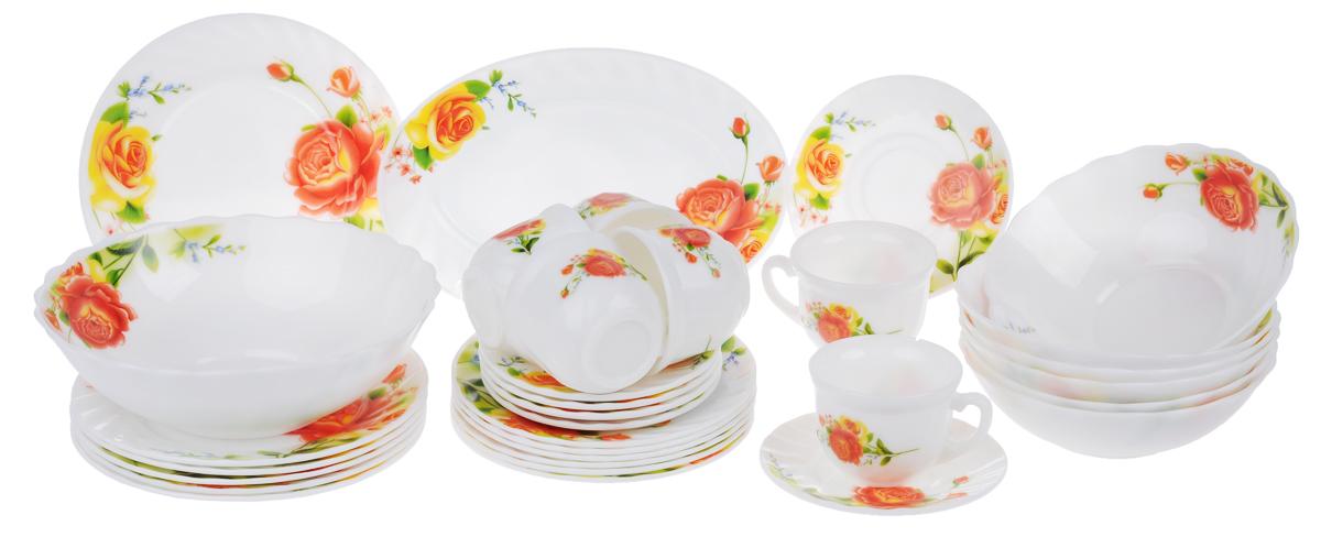 Набор столовой посуды Chinbull Алессио, 32 предметаW-32I/6665Набор Chinbull Алессио состоит из 6 обеденных тарелок, 6 десертных тарелок, 6 суповых тарелок, 6 чашек, 6 блюдец, салатника и овального блюда. Изделия выполнены из высококачественной стеклокерамики и декорированы красочным изображением цветов. Посуда отличается прочностью, гигиеничностью и долгим сроком службы, она устойчива к появлению царапин и резким перепадам температур. Такой набор прекрасно подойдет как для повседневного использования, так и для праздников. Набор столовой посуды Chinbull Алессио- это не только яркий и полезный подарок для родных и близких, а также великолепное дизайнерское решение для вашей кухни или столовой. Можно мыть в посудомоечной машине и использовать в микроволновой печи. Диаметр обеденной тарелки (по верхнему краю): 20 см. Высота обеденной тарелки: 2 см. Диаметр десертной тарелки (по верхнему краю): 17,5 см. Высота десертной тарелки: 1,6 см. Диаметр суповой тарелки (по верхнему краю):...