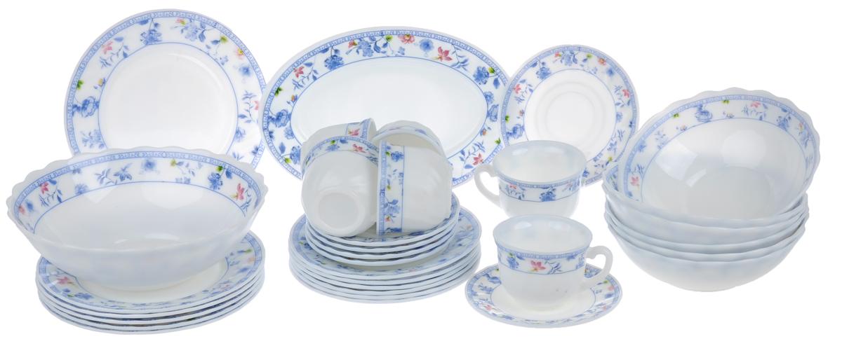 Набор столовой посуды Chinbull Лоран, 32 предметаW-32I/6724Набор Chinbull Лоран состоит из 6 обеденных тарелок, 6 десертных тарелок, 6 суповых тарелок, 6 чашек, 6 блюдец, салатника и овального блюда. Изделия выполнены из высококачественной стеклокерамики и имеют яркий дизайн с изящным рисунком цветов. Посуда отличается прочностью, гигиеничностью и долгим сроком службы, она устойчива к появлению царапин и резким перепадам температур. Такой набор прекрасно подойдет как для повседневного использования, так и для праздников. Набор столовой посуды Chinbull Лоран- это не только яркий и полезный подарок для родных и близких, а также великолепное дизайнерское решение для вашей кухни или столовой. Можно мыть в посудомоечной машине и использовать в микроволновой печи. Диаметр обеденной тарелки (по верхнему краю): 20 см. Высота обеденной тарелки: 2 см. Диаметр десертной тарелки (по верхнему краю): 17,5 см. Высота десертной тарелки: 1,6 см. Диаметр суповой тарелки (по верхнему краю): 18...