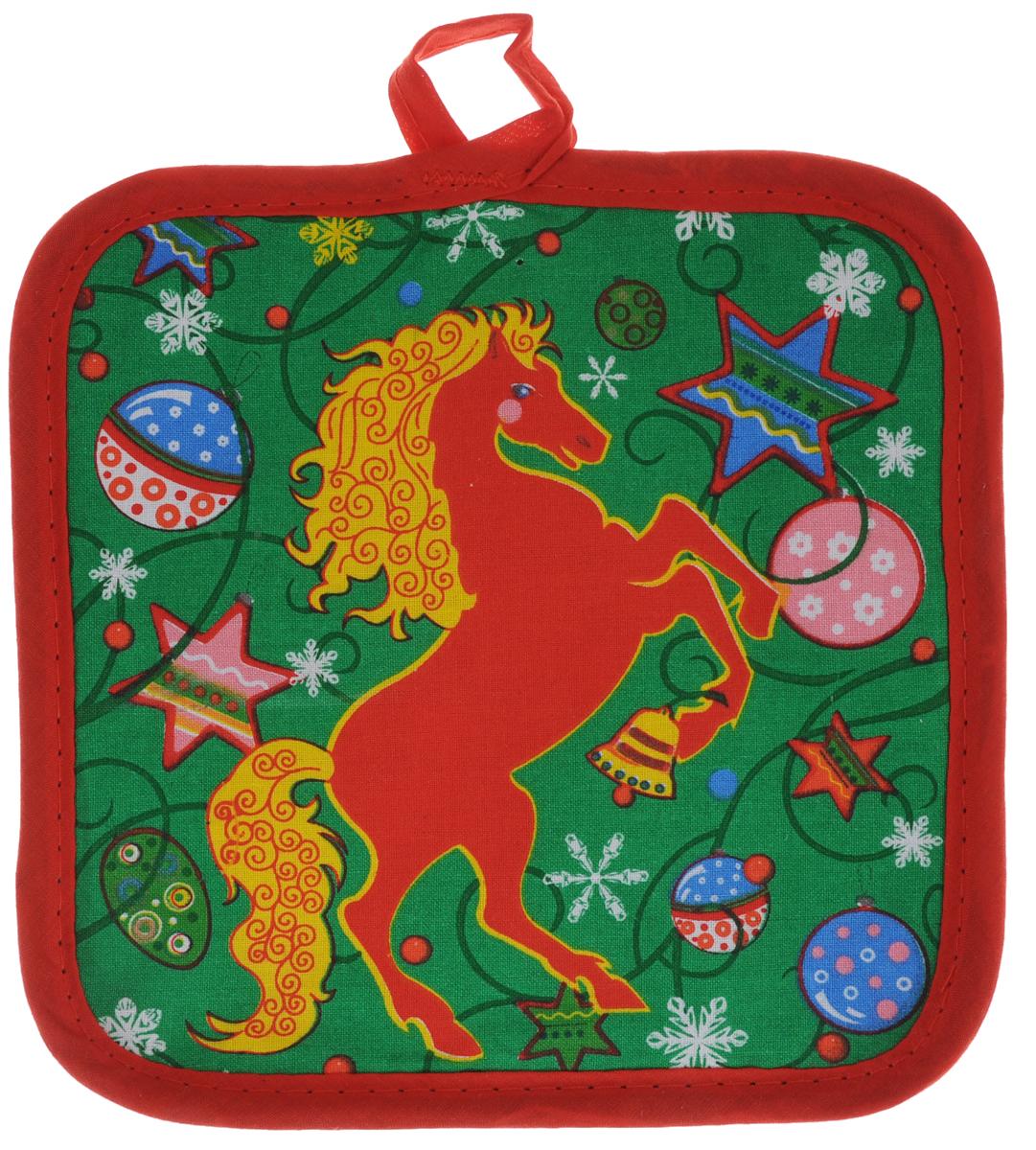 Прихватка Bonita Красный конь, 17 х 17 см1101211858Прихватка Bonita Красный конь - незаменимый помощник на любой кухне. Изделие, выполненное из натурального хлопка и полиэстера, оформлено красивым новогодним принтом с лицевой стороны. Задняя сторона простегана, что позволяет наполнителю не скатываться со временем. Благодаря специальной петельке изделие можно подвесить на крючок. Прихватка мягкая, удобная и практичная. Она защитит ваши руки и предотвратит появление ожогов. Красочный дизайн позволит красиво дополнить интерьер кухни.