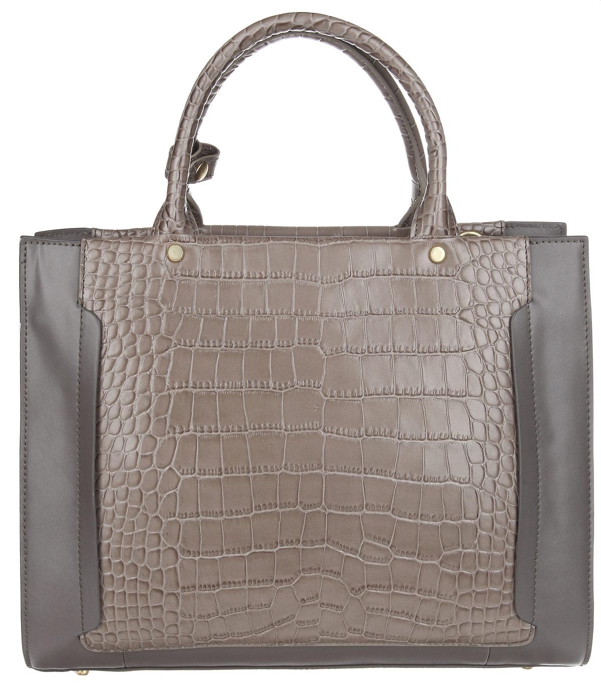 Сумка женская Fiorita, цвет: серый, серо-коричневый. 0009F0009F greyЭлегантная женская сумка Fiorita выполнена из натуральной кожи и дополнена вставками из кожи под крокодила. Изделие имеет одно основное отделение, которое закрывается на застежку- молнию. Внутри находятся два прорезных кармана на застежках-молниях и два накладных открытых кармашка. Снаружи на задней стенке расположен прорезной карман на застежке- молнии. Изделие оснащено двумя удобными ручками. В комплект входит съемный плечевой ремень, который регулируется по длине. Основание изделия защищено от повреждений металлическими ножками. Сумка упакована в фирменный чехол. Такая сумка дополнит образ и подчеркнет ваше отменное чувство стиля.