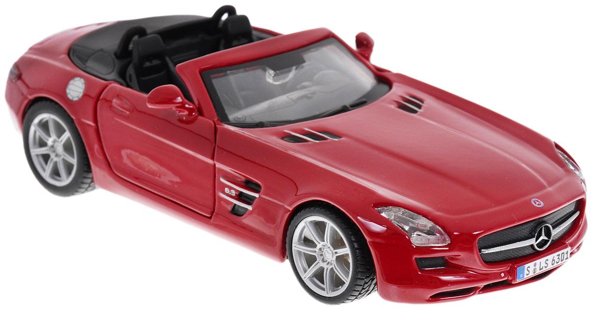 Bburago Модель автомобиля Mercedes-Benz SLS AMG Roadster цвет красный18-43035_красныйКоллекционная модель автомобиля Bburago Mercedes-Benz SLS AMG Roadster предназначена для тех, кто любит роскошь и высокие скорости. Благодаря броской внешности, а также великолепной точности, с которой создатели этой модели масштабом 1:32 передали внешний вид настоящего автомобиля, машинка станет подлинным украшением любой коллекции авто. Машинка будет долго служить своему владельцу благодаря металлическому корпусу с элементами из пластика. Передние двери машины открываются. Шины обеспечивают отличное сцепление с любой поверхностью пола. Модель автомобиля Bburago Mercedes-Benz SLS AMG Roadster обязательно понравится вашему ребенку и станет достойным экспонатом любой коллекции.