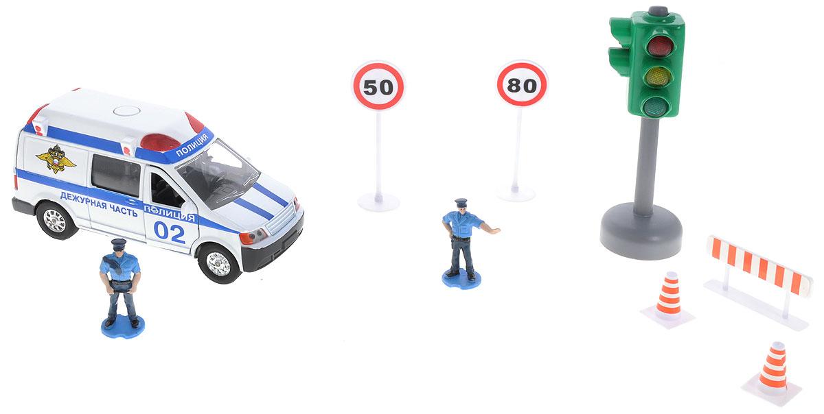 ТехноПарк Игровой набор ПолицияCT10-060-1_Игровой набор ТехноПарк Полиция непременно понравится вашему ребенку. Набор включает в себя полицейскую машину, две фигурки полицейских, светофор, два конуса, ограждение и два дорожных знака, ограничивающих скорость. Машинка выполнена из пластика и металла, двери и багажник открываются. При нажатии кнопки на крыше, лампочки начинают светиться, при этом слышны звуки сирены. Машинка оснащена инерционным механизмом: стоит откатить игрушку назад, затем отпустить - и она молниеносно поедет вперед. Светофор поочередно переключает цвета согласно правилам дорожного движения. Ваш ребенок будет часами играть с набором, придумывая различные истории. Порадуйте его таким замечательным подарком! Машинка и светофор работают каждый от 3 батареек LR 41(товар комплектуется демонстрационными).