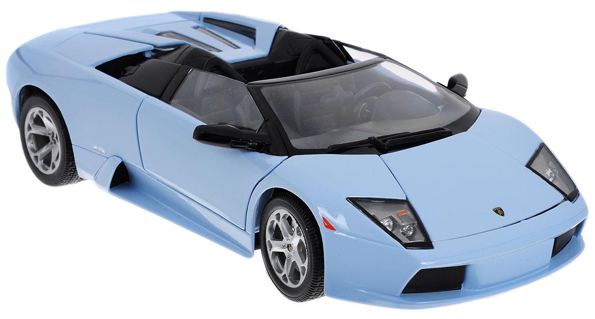 Bburago Модель автомобиля Lamborghini Murcielago Roadster цвет голубой18-12070_голубойКоллекционная модель автомобиля Bburago Lamborghini Murcielago Roadster будет отличным подарком как ребенку, так и взрослому коллекционеру. Благодаря броской внешности, а также великолепной точности, с которой создатели этой модели масштабом 1:18 передали внешний вид настоящего автомобиля, машинка станет подлинным украшением любой коллекции авто. Машинка будет долго служить своему владельцу благодаря металлическому корпусу с элементами из пластика. Передние двери машины открываются. Шины обеспечивают отличное сцепление с любой поверхностью пола. Модель автомобиля Bburago Lamborghini Murcielago Roadster обязательно понравится вашему ребенку и станет достойным экспонатом любой коллекции.