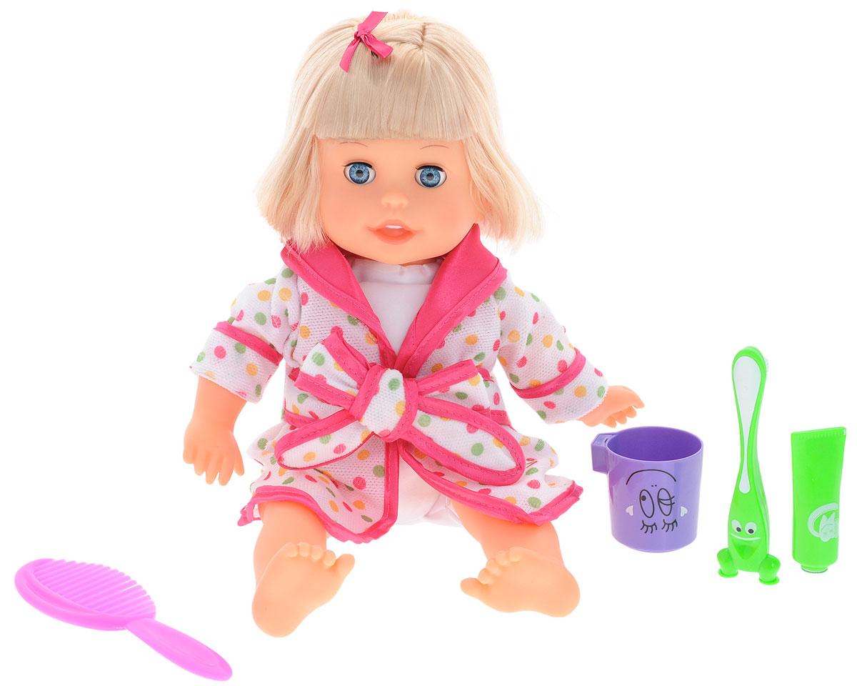 Затейники Кукла интерактивная Моя радость блондинка в халате1121935_блондинка/халат белый с розовым в горошекКукла интерактивная Затейники Моя радость обязательно вызовет улыбку на милом детском лице вашей малютки, ведь она ведет себя как настоящий ребенок! Кукла умеет разговаривать (30 фраз) и может спеть веселую песенку! Чтобы игрушка заговорила, нужно нажать на ее живот. У нее 8 удивительных функций: кукла чистит зубы, полощет рот, поворачивает голову, спит, дышит и сопит во сне, причесывается, смеется и поет песенку. Ее мягкие волосы можно укладывать по собственному вкусу. Одета кукла в белый халатик, усыпанный разноцветным горошком. В набор с куклой входит: расческа, зубная паста, зубная щетка, стаканчик. Это прекрасный подарок для ребенка, который послужит не только развлечением, ведь слушая модницу, ваша малышка невольно и сама запомнит все то, что знает кукла, тем самым сможет развивать память прямо в процессе игры! Порадуйте свою малышку таким замечательным подарком!
