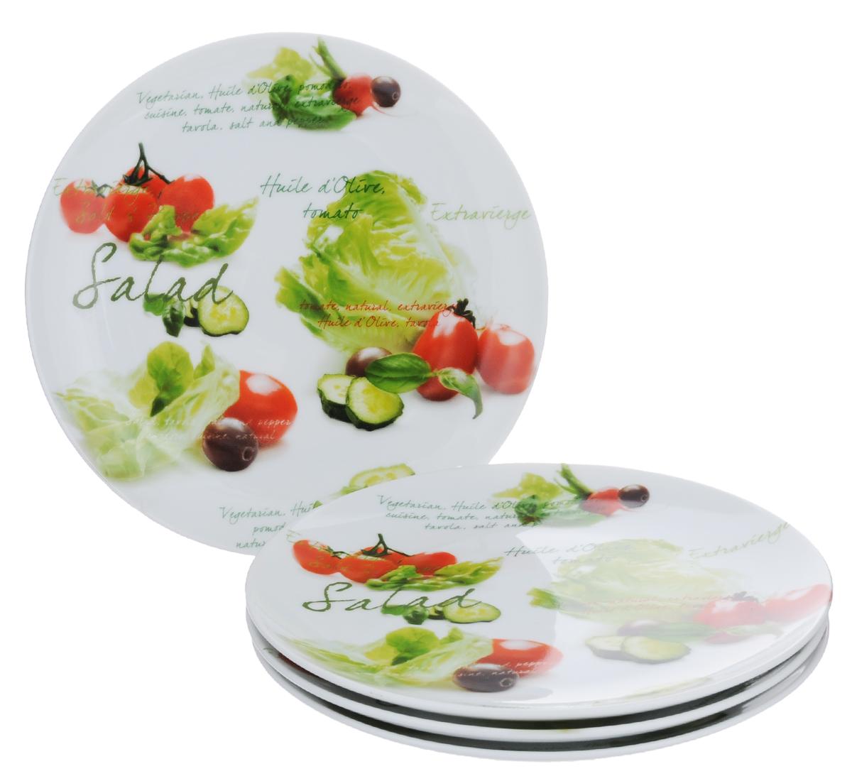 Набор тарелок Nuova R2S Салат, диаметр 20,5 см, 4 шт714SLDНабор Nuova R2S Салат, выполненный из высококачественного фарфора, состоит из четырех тарелок и предназначен для красивой сервировки различных блюд. Изделия украшены надписями и красочным изображением разных овощей. Набор сочетает в себе стильный дизайн с максимальной функциональностью. Оригинальность оформления придется по вкусу и ценителям классики, и тем, кто предпочитает утонченность и изящность. Можно использовать в микроволновой печи и мыть в посудомоечной машине. Диаметр тарелки: 20,5 см. Высота тарелки: 2,2 см.