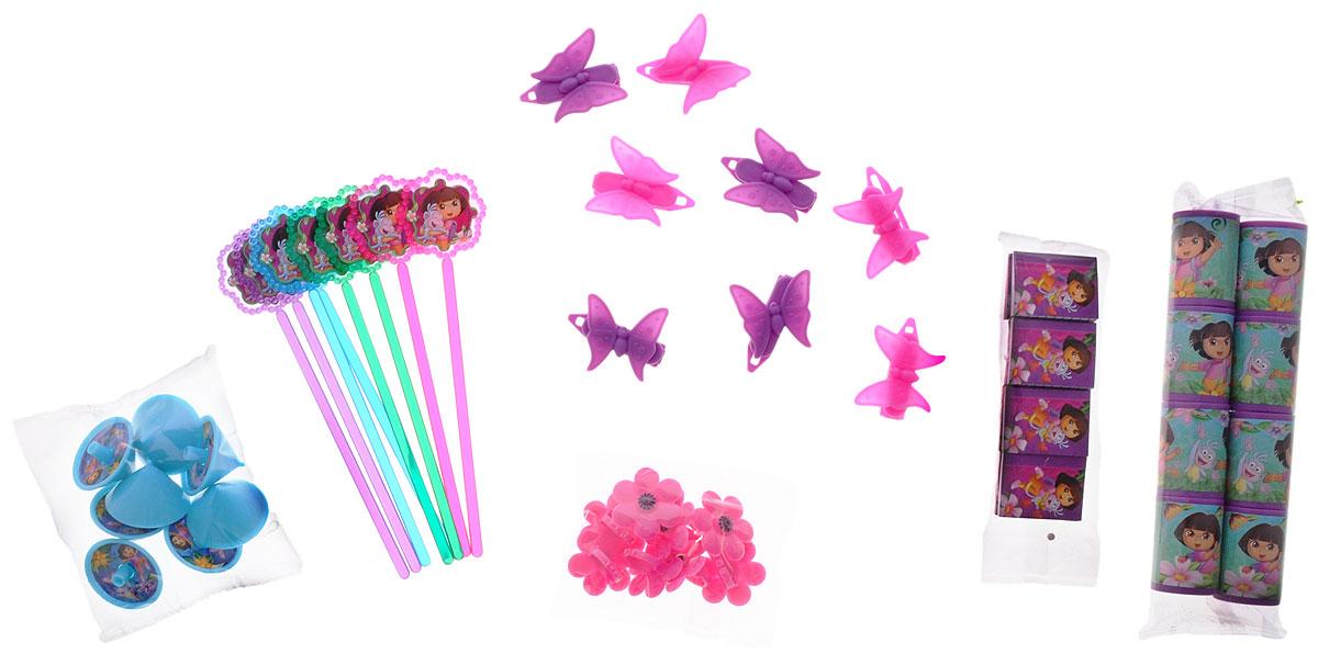 Веселая затея Игрушки для подарков Даша-путешественница1507-0991Игрушки для подарков Даша-путешественница - набор небольших сюрпризов для самых любознательных путешественниц. В комплект входит 6 видов различных игрушек с изображениями Даши и ее друзей: волчок крутящийся, заколка-бабочка для волос, колечко с цветком, волшебная палочка, калейдоскоп, мини-блокнот. Все игрушки представлены по 8 штук. Игрушки послужат отличным наполнением для пиньяты.