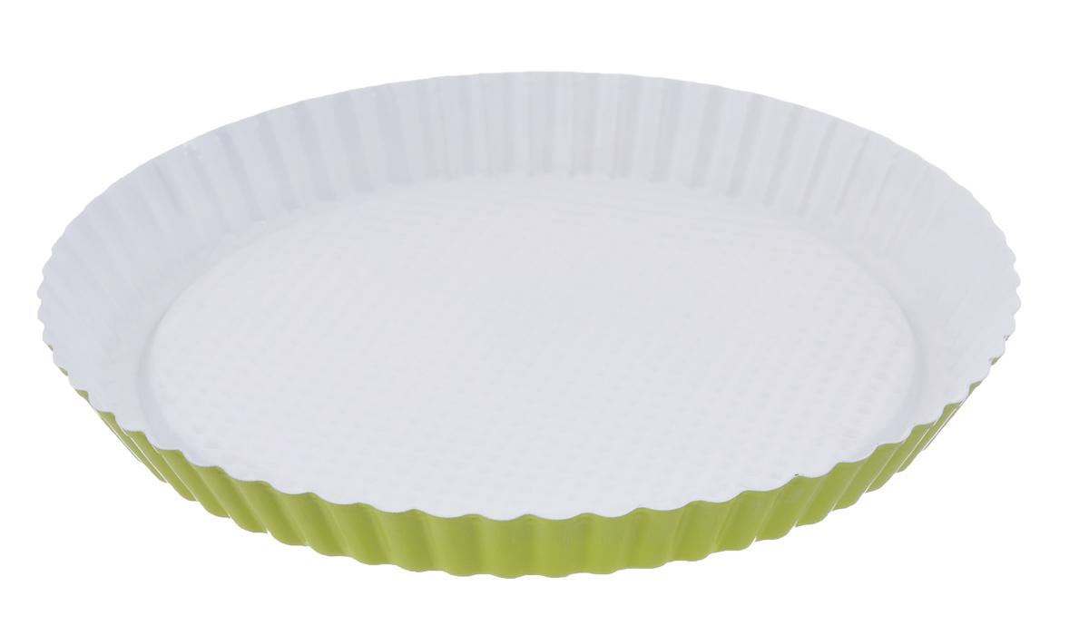 Форма для пирога Miolla рифленая, круглая, с керамическим покрытием, цвет: белый, зеленый, диаметр 28 см1001057UФорма для пирога Miolla изготовлена из углеродистой стали с керамическим покрытием, благодаря чему пища не пригорает и не прилипает к стенкам посуды. Кроме того, готовить можно с добавлением минимального количества масла и жиров. Керамическое покрытие также обеспечивает легкость мытья. Внутренние боковые стенки рельефные, что придаст вашей выпечке особую аппетитную форму. Изделие подходит для использования в духовом шкафу. Не использовать в СВЧ-печи и на открытом огне. Можно мыть в посудомоечной машине. Диаметр формы по верхнему краю: 28 см. Высота стенок формы: 3 см.