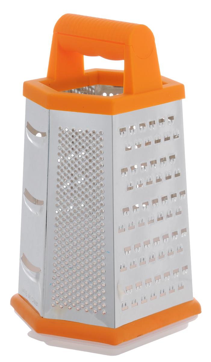 Терка Mayer & Boch, шестигранная, с контейнером, цвет: оранжевый. 2132121321Терка Mayer & Boch изготовлена из высококачественной стали с оловянным покрытием и зеркальной полировкой. Терка оснащена удобной ручкой, выполненной из АБС-пластика с прорезиненным покрытием. На одной терке представлены шесть видов терок - крупная, мелкая, терка для овощных пюре, фигурная, шинковка и шинковка фигурная. Терка снабжена специальным контейнером, куда попадают уже натертые продукты. Для удобного хранения для контейнера предусмотрена крышка. Терку можно использовать и без контейнера, специальная резиновая накладка на дне обеспечивает устойчивость и предотвращает скольжение. Каждая хозяйка оценит все преимущества этой терки. Благодаря этому можно удовлетворить любые потребности по нарезке различных продуктов. Наслаждайтесь приготовлением пищи с многофункциональной теркой Mayer & Boch. Размер терки: 14 см х 12 см х 23 см. Размер контейнера (с крышкой): 13,5 см х 11,5 см х 8 см.