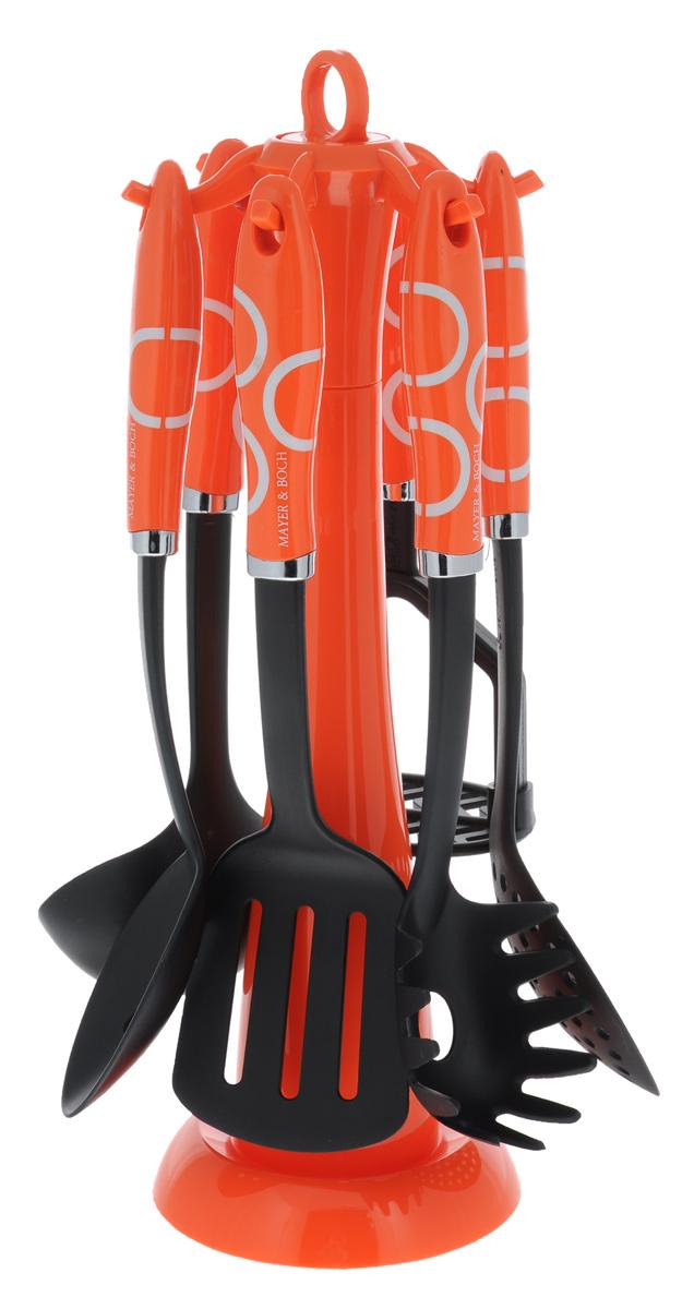 Набор кухонных принадлежностей Mayer & Boch, цвет: черный, оранжевый, 7 предметов. 224222421Набор кухонных принадлежностей Mayer & Boch станет незаменимым помощником на кухне, поскольку в набор входят самые необходимые кухонные аксессуары: ложка для спагетти, половник, шумовка, ложка с прорезями, лопатка с прорезями, картофелемялка. Предметы набора размещены на элегантной пластиковой подставке. Ручки изделий, выполненные из пластика, оснащены отверстием для подвешивания на крючок. Рабочие поверхности предметов набора изготовлены из нейлона. Размер подставки: 13 см х 13 см х 39 см. Длина половника: 30 см. Размер рабочей поверхности половника: 8 см х 9 см. Длина лопатки с прорезями: 32 см. Размер рабочей поверхности лопатки с прорезями: 10 см х 8 см. Длина ложки с прорезями: 31,5 см. Размер рабочей поверхности ложки с прорезями: 10 см х 6 см. Длина ложки для спагетти: 31 см. Размер рабочей поверхности ложки для спагетти: 6 см х 8 см. Длина шумовки: 32 см. Размер рабочей поверхности шумовки: 11...