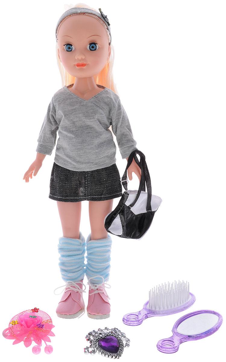 Zhorya Кукла ИринаХ75555Кукла Ирина обязательно порадует вашу малышку и не позволит ей скучать. Данная модель умеет петь и разговаривать, благодаря чему игра с ней будет весёлой и занимательной. Стильная куколка одета в серую кофточку и юбочку, на ногах у нее голубые гольфы и розовые ботиночки. Образ куклы дополняет модная черно-белая сумка. В комплекте с куклой зеркальце, расческа, резинка для волос и украшение с кулоном-сердечком для маленькой хозяйки. Малышка с удовольствием может причесывать Ирину, создавая для нее новые образы. Игры с куклой способствуют эмоциональному развитию, а также помогают формировать эстетическое восприятие. Для работы требуются 3 батарейки типа LR44 (в комплекте).