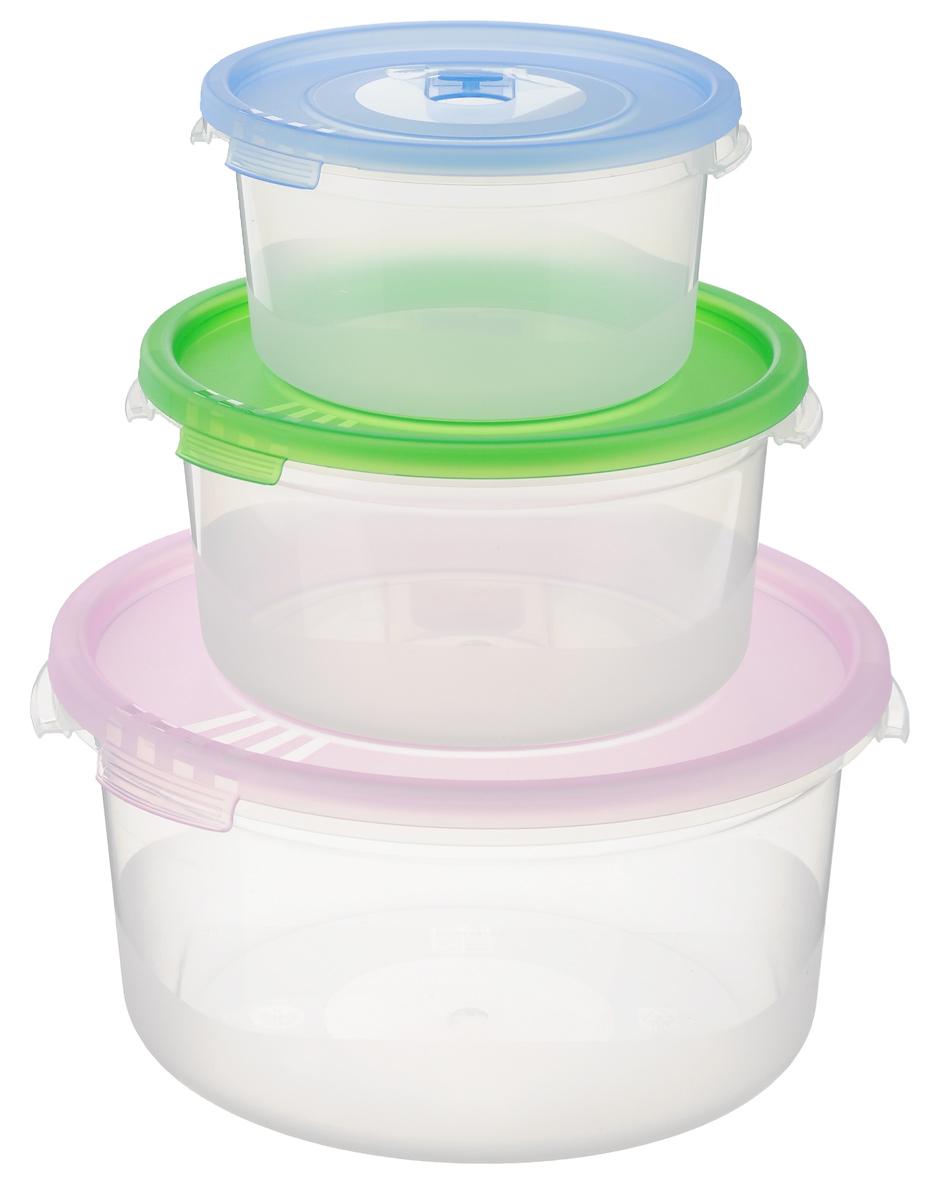 Набор контейнеров Полимербыт Смайл, с клапаном, цвет: сиреневый, зеленый, голубой, 3 штС52203_миксНабор контейнеров Полимербыт Смайл круглой формы, изготовленный из прочного пластика, предназначен специально для хранения пищевых продуктов. Каждый контейнер оснащен герметичной крышкой со специальным клапаном, благодаря которому внутри создается вакуум, и продукты дольше сохраняют свежесть и аромат. Крышка легко открывается и плотно закрывается. Стенки контейнера прозрачные - хорошо видно, что внутри. Контейнеры устойчивы к воздействию масел и жиров, легко моются. Подходят для использования в микроволновых печах при температуре до +110°С, выдерживают хранение в морозильной камере при температуре до -40°С, их можно мыть в посудомоечной машине. Объем: 0,4 л; 0,8 л; 1,6 л. Диаметр: 12 см; 15 см; 20 см. Высота стенки (без учета крышки): 6 см; 7 см; 9 см.