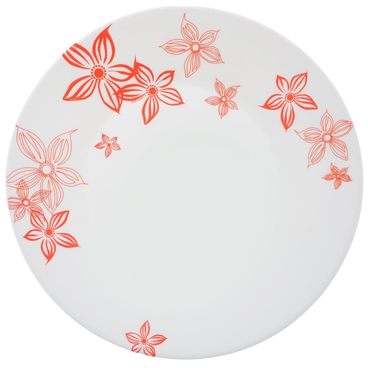 Тарелка Luminarc Talulla, диаметр 24,5 смJ3567Тарелка Luminarc Talulla, изготовленная из ударопрочного стекла, декорирована изображением цветов. Такая тарелка прекрасно подходит как для торжественных случаев, так и для повседневного использования. Идеальна для подачи десертов, пирожных, тортов и многого другого. Она прекрасно оформит стол и станет отличным дополнением к вашей коллекции кухонной посуды. Диаметр тарелки (по верхнему краю): 24,5 см. Высота тарелки: 2,5 см.